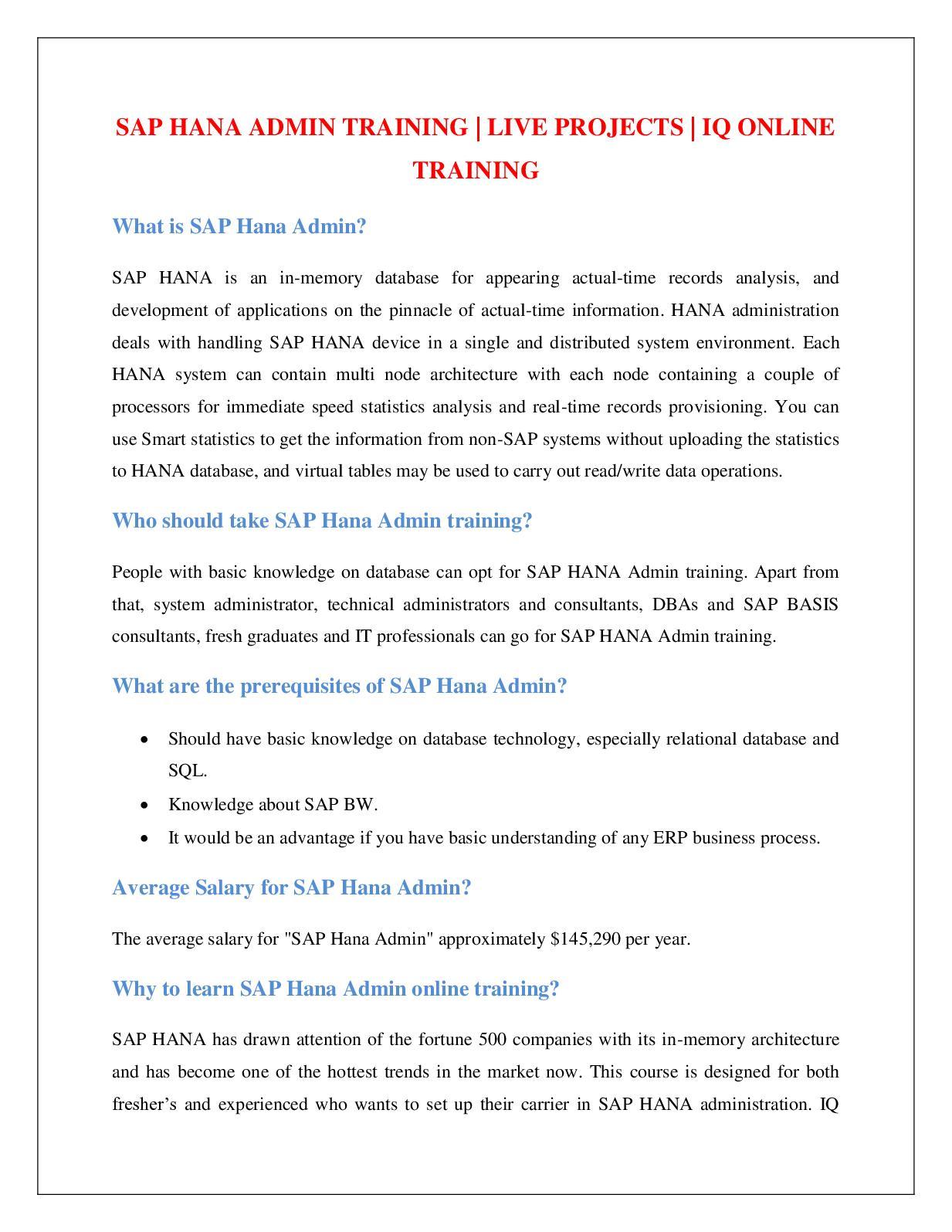 Calaméo - SAP HANA ADMIN TRAINING | LIVE PROJECTS | IQ