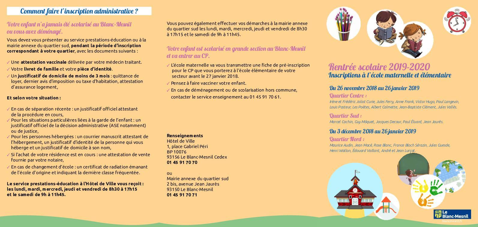 Calameo Inscriptions A L Ecole Maternelle Et Elementaire 2019 2020