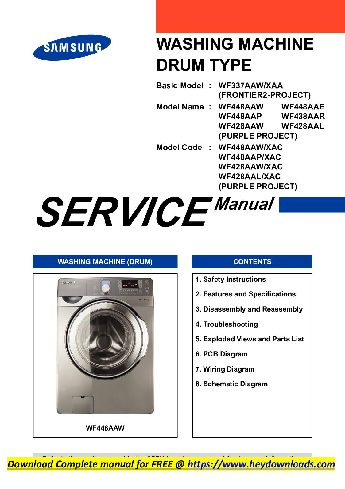 Calaméo - Samsung WF448AAW service manual download