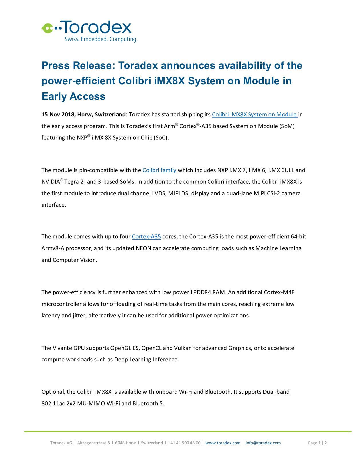 Calaméo - Toradex Announces Availability Of The Power Effective