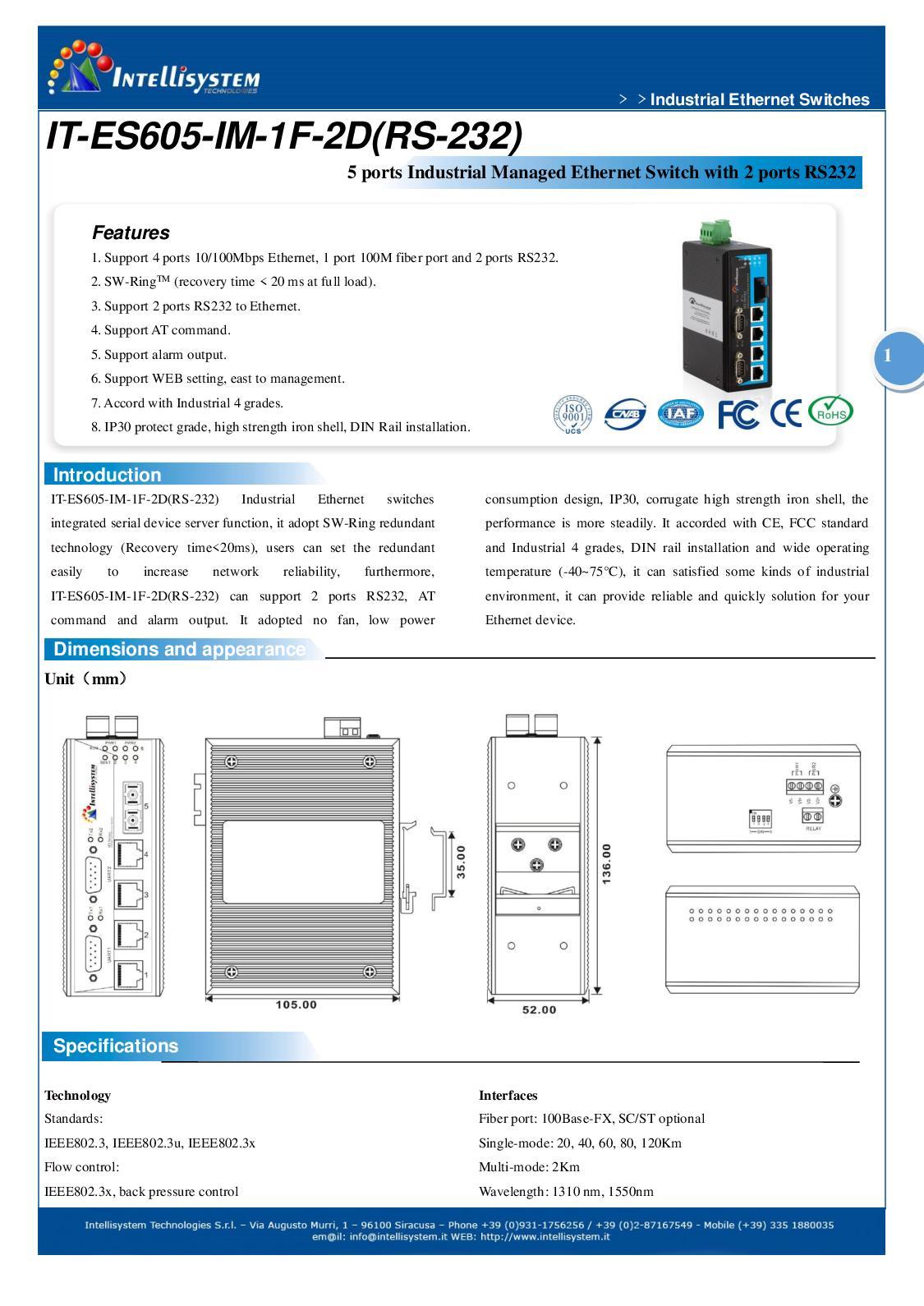Calaméo - IT-ES605-IM-1F-2D(RS-232) - Industrial Ethernet Managed