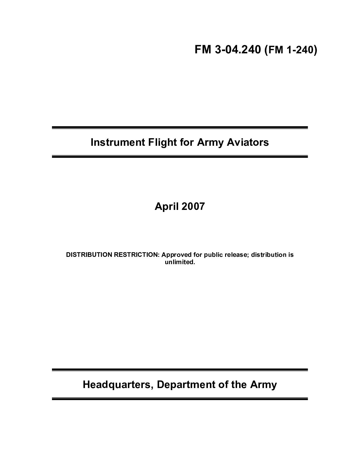 Calaméo - (e Book - English - Military) US Army - Field Manual FM 3 04 240  - Instrument Flight For Army Aviators Apr2007