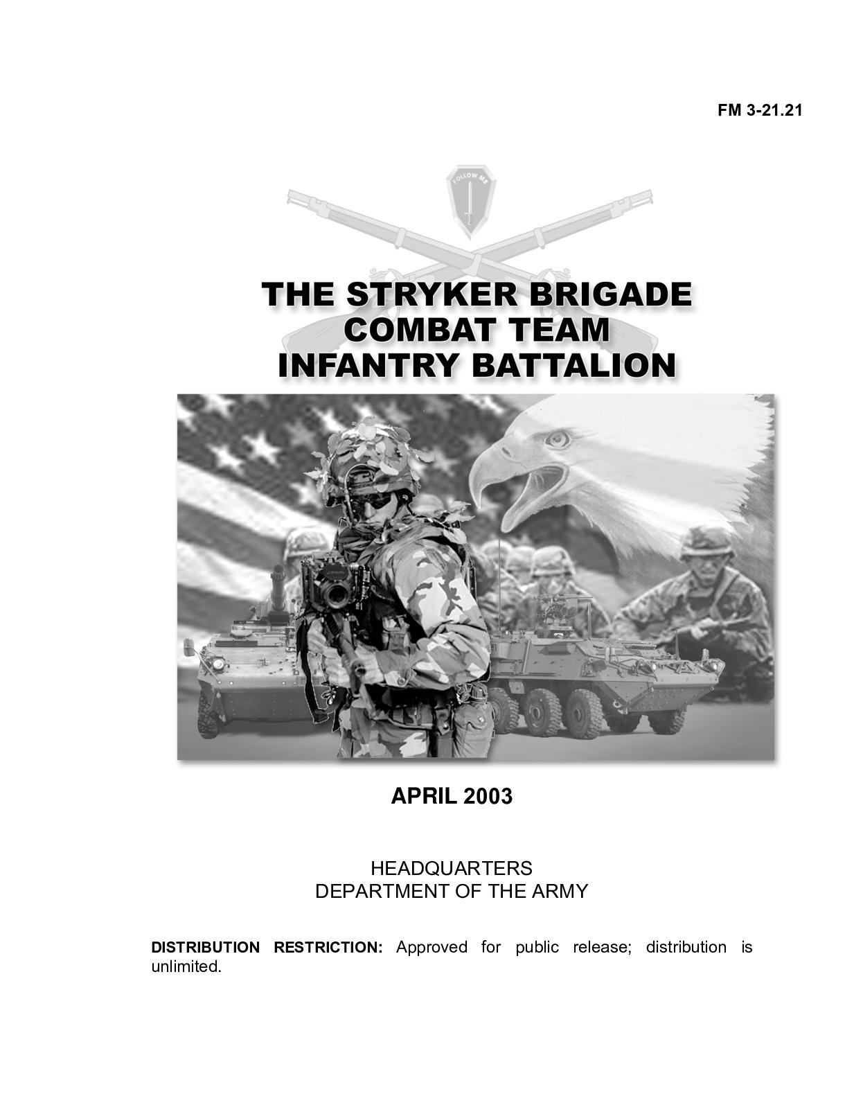(e Book - English - Military) US Army - Field Manual FM 3 21 21 - THE  STRYKER BRIGADE COMBAT TEAM INFANTRY BATTALION Apr2003