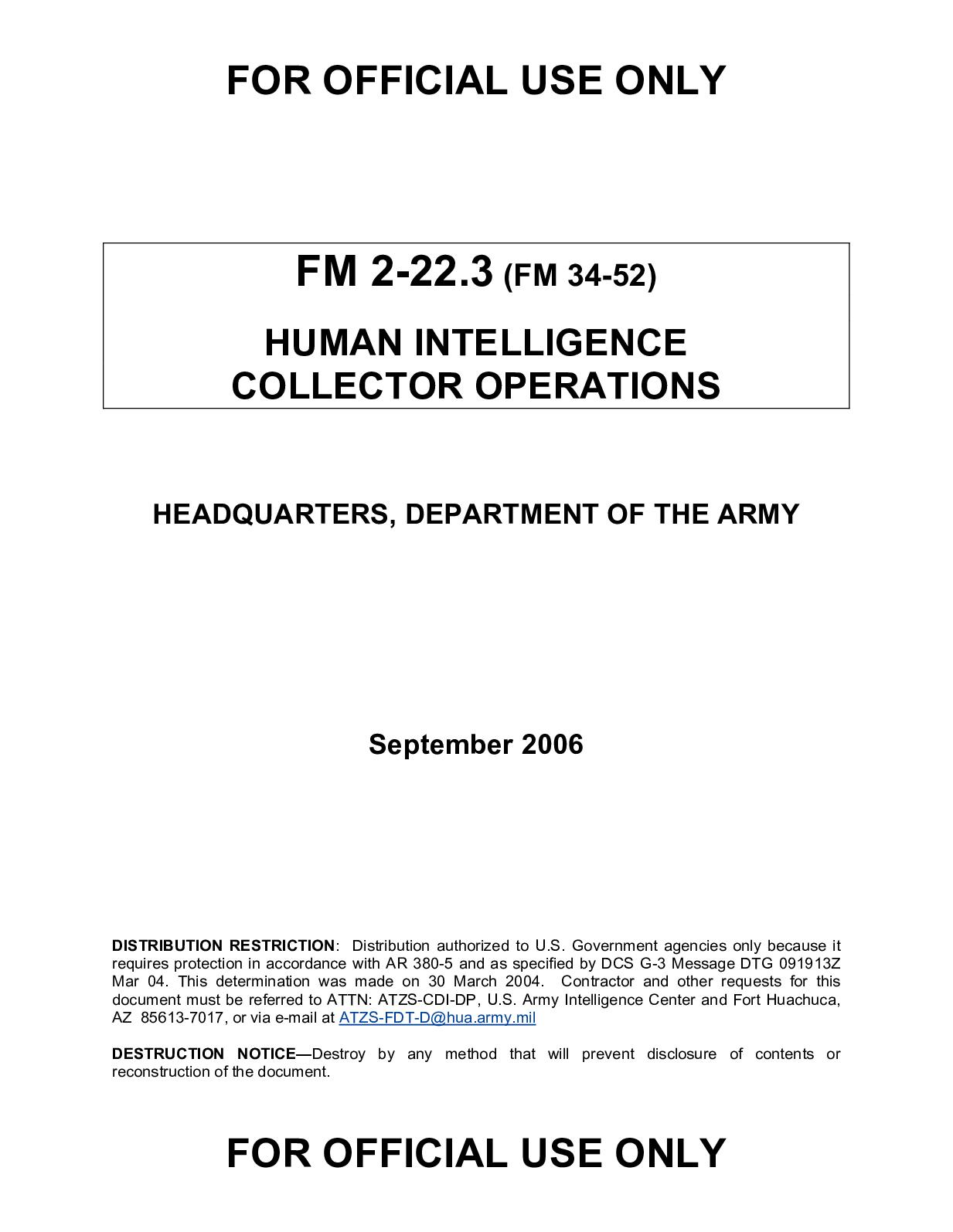 Calaméo - (e Book - English - Military) US Army - Field Manual FM 2 022 3 -  Human Intelligence Collector Operations (Sept. 2006).