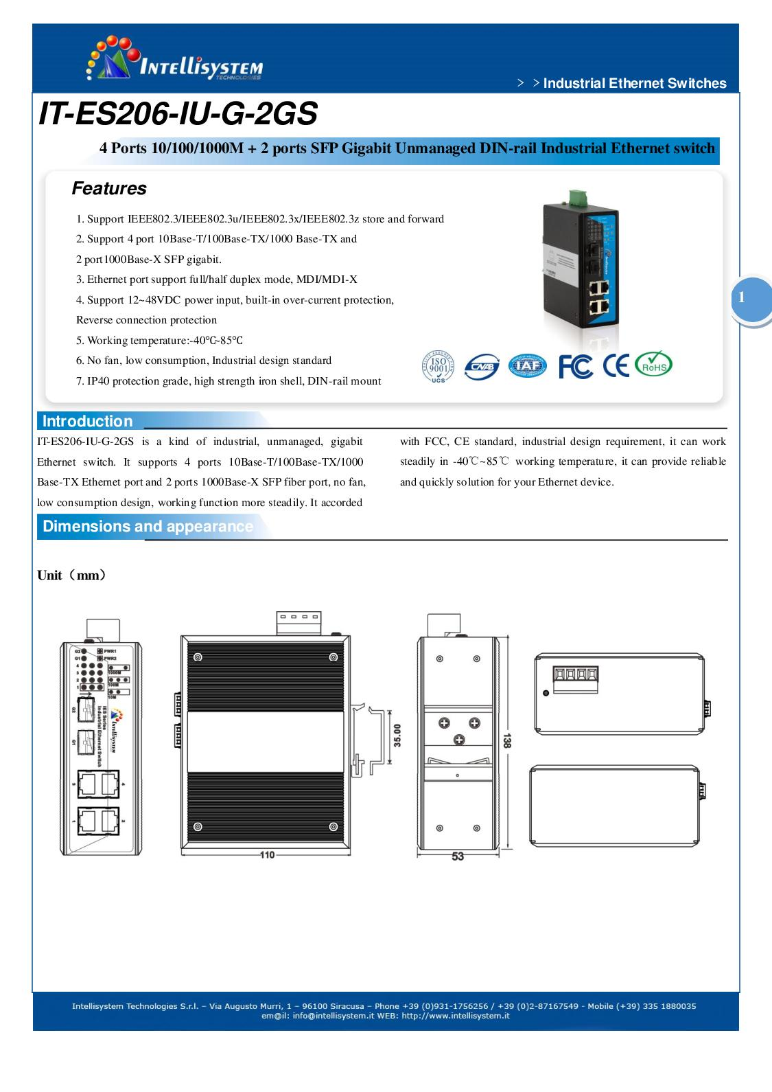 Calaméo - It Es206 Iu G 2gs Datasheet - SWITCH ETHERNET