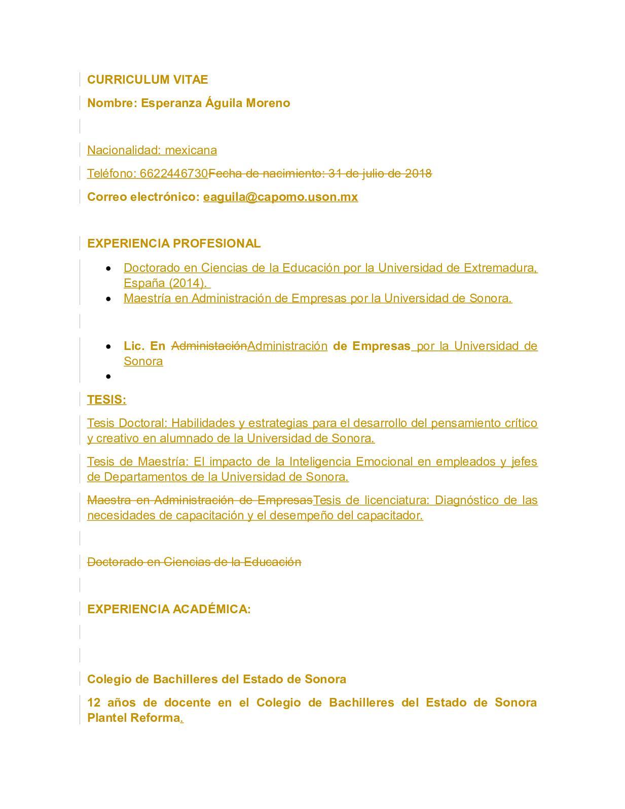Calaméo Curriculum Vitae Esperanza