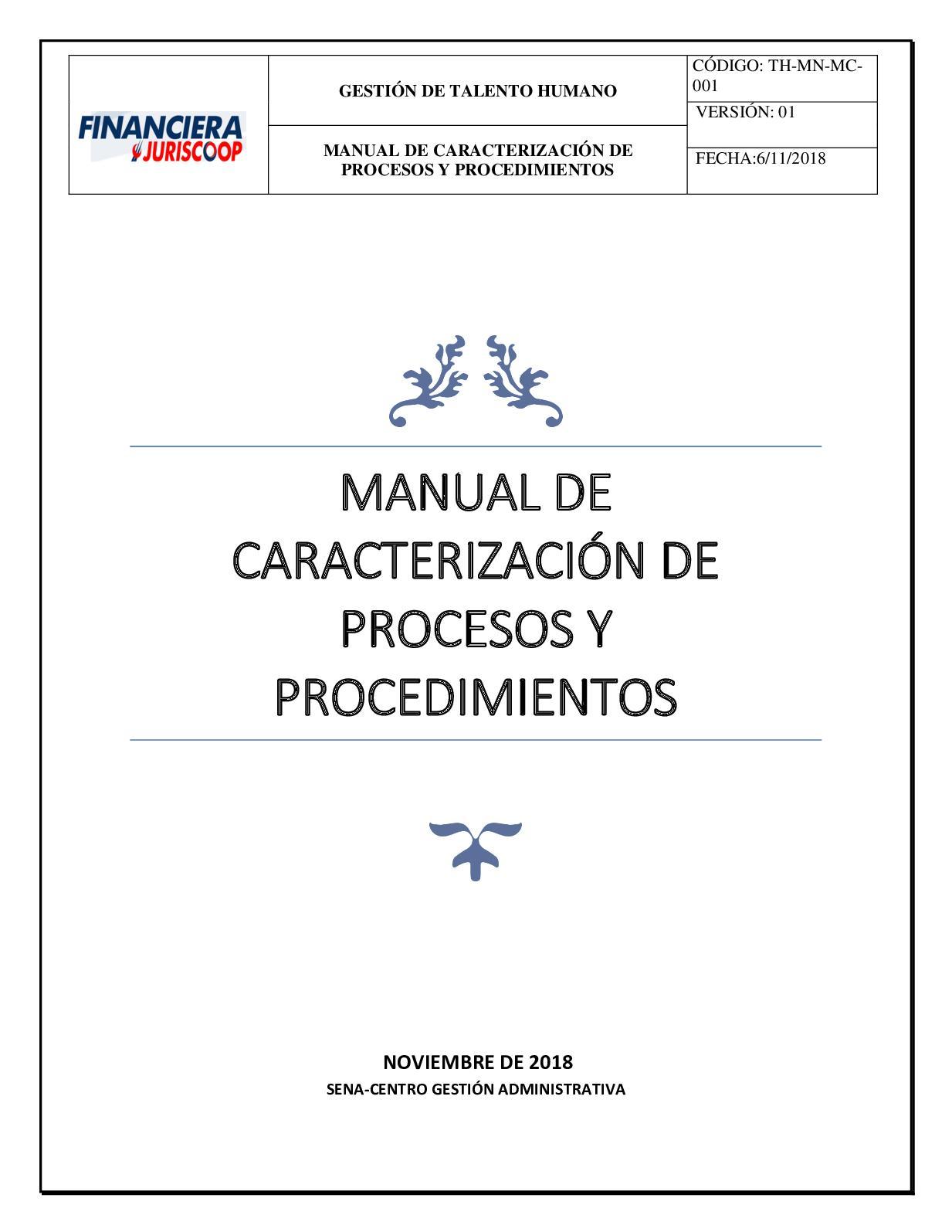 Manual De Caracterizacion De Procesos Y Procedimientos 01