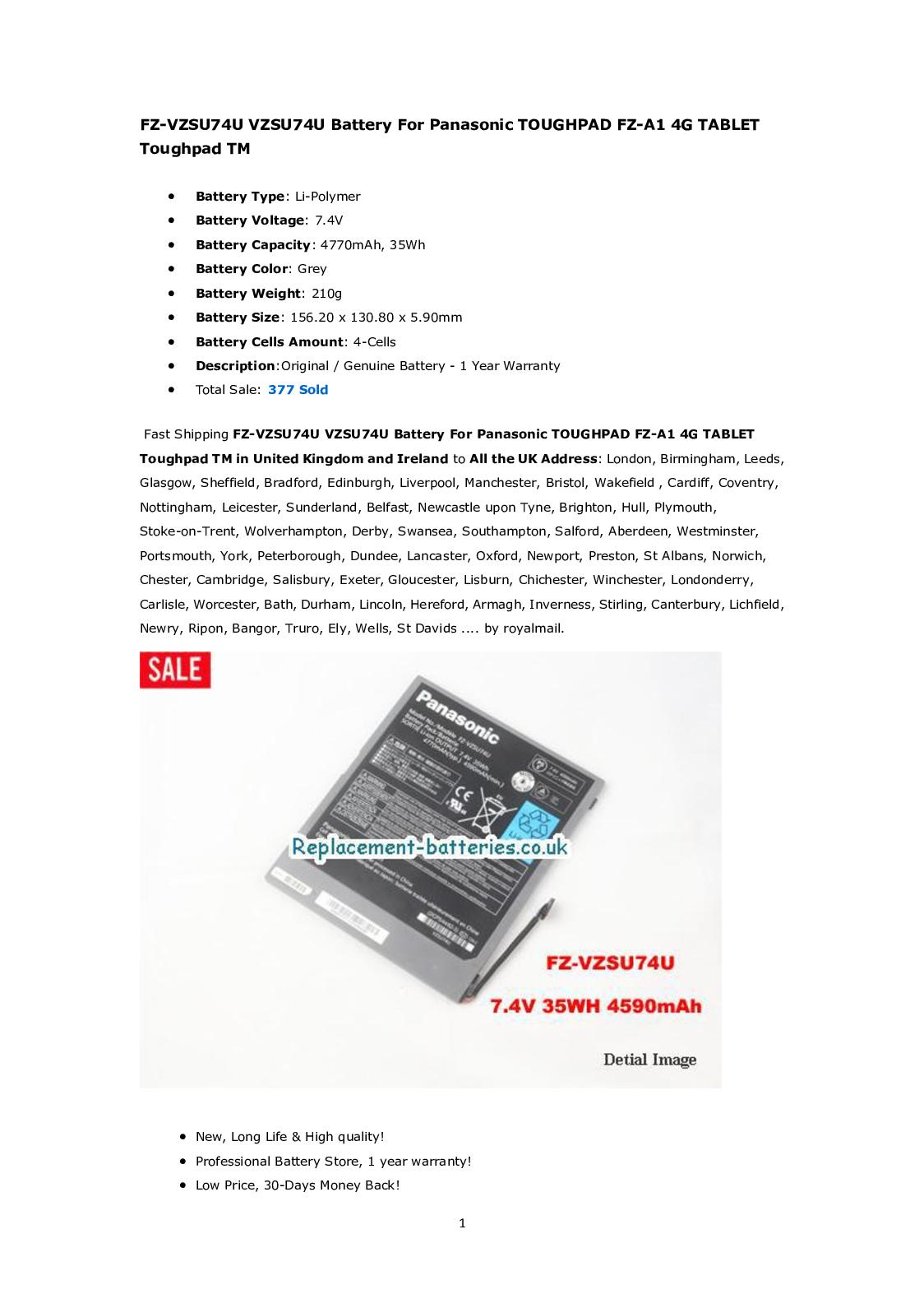 Calaméo - FZ-VZSU74U VZSU74U Battery For Panasonic TOUGHPAD FZ-A1 4G