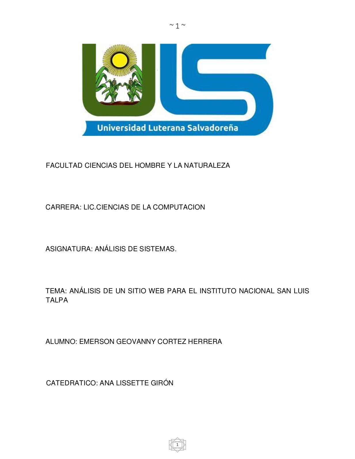 Analisis De Sistemas Del Instituto Nacional De San Luis Talpa