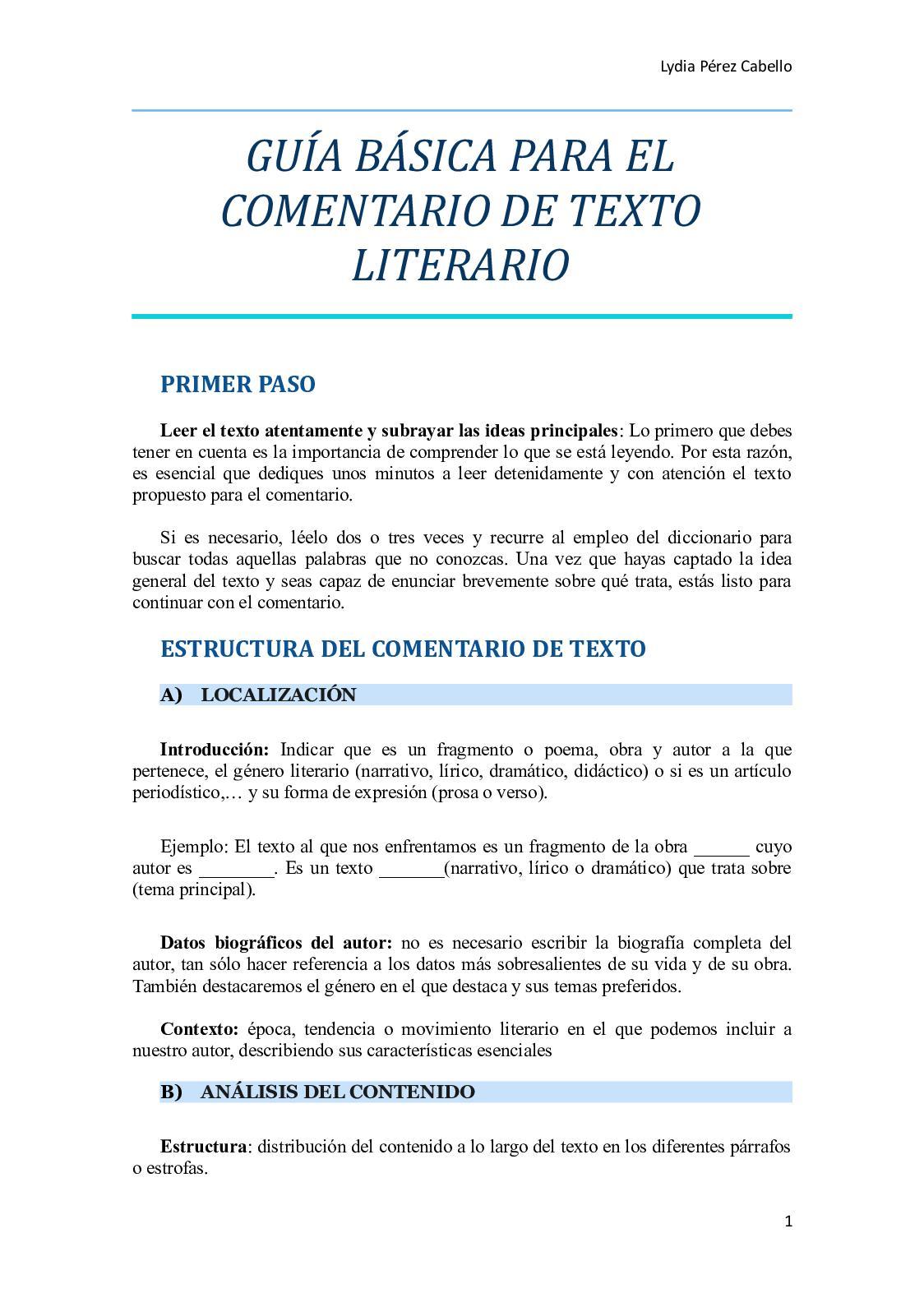 Calaméo Lydia Guía Básica Para El Comentario De Texto