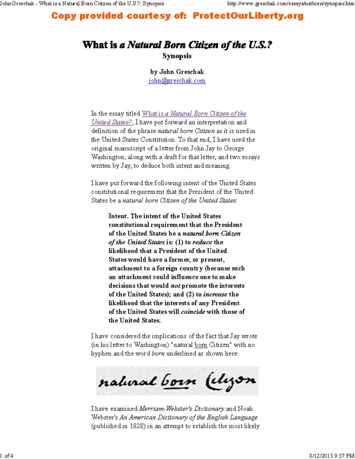 Calaméo - Natural Born Citizen Meaning Synopsis by John Greschak