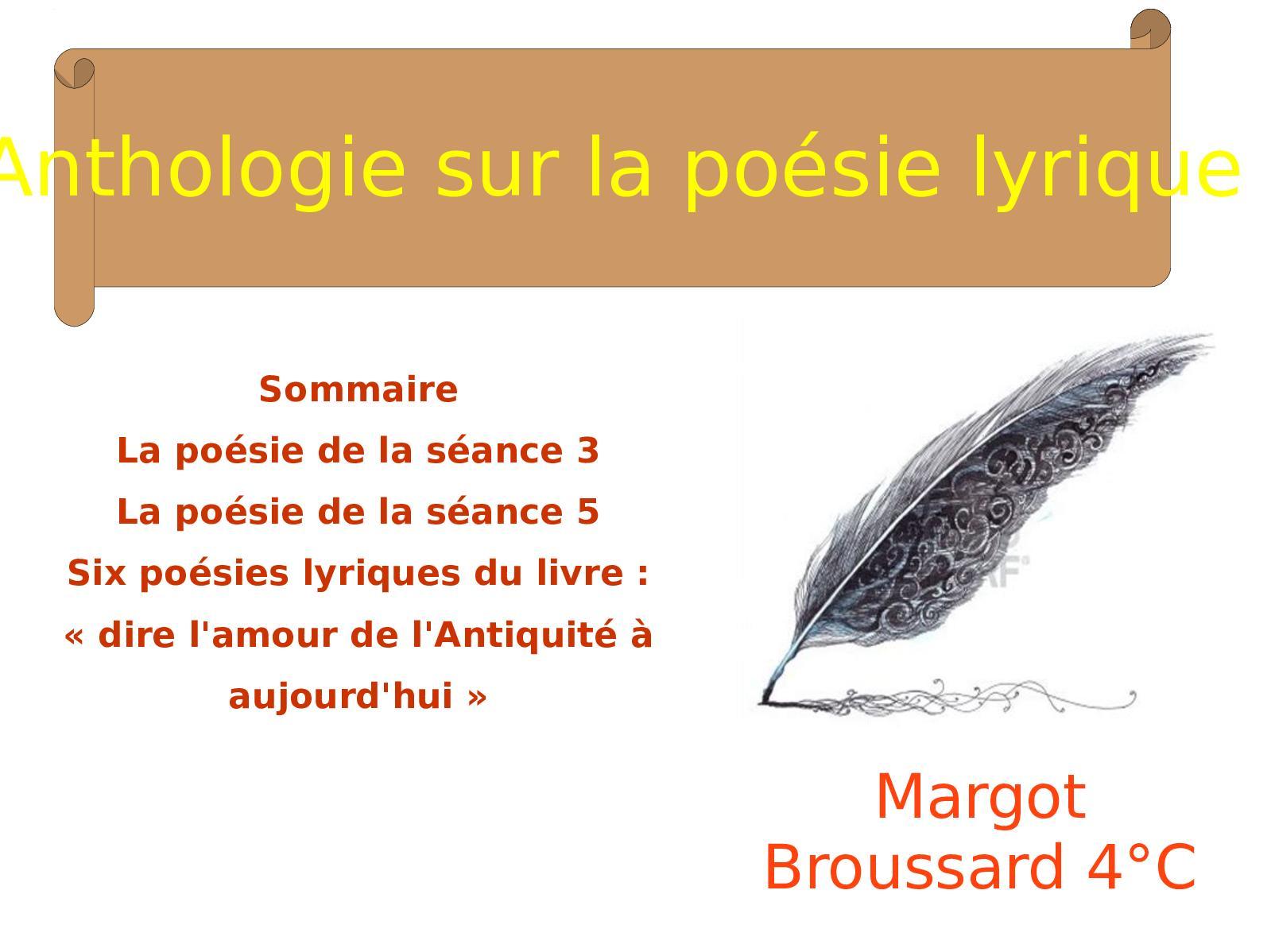 Calaméo Anthologie Sur La Poésie Lyrique