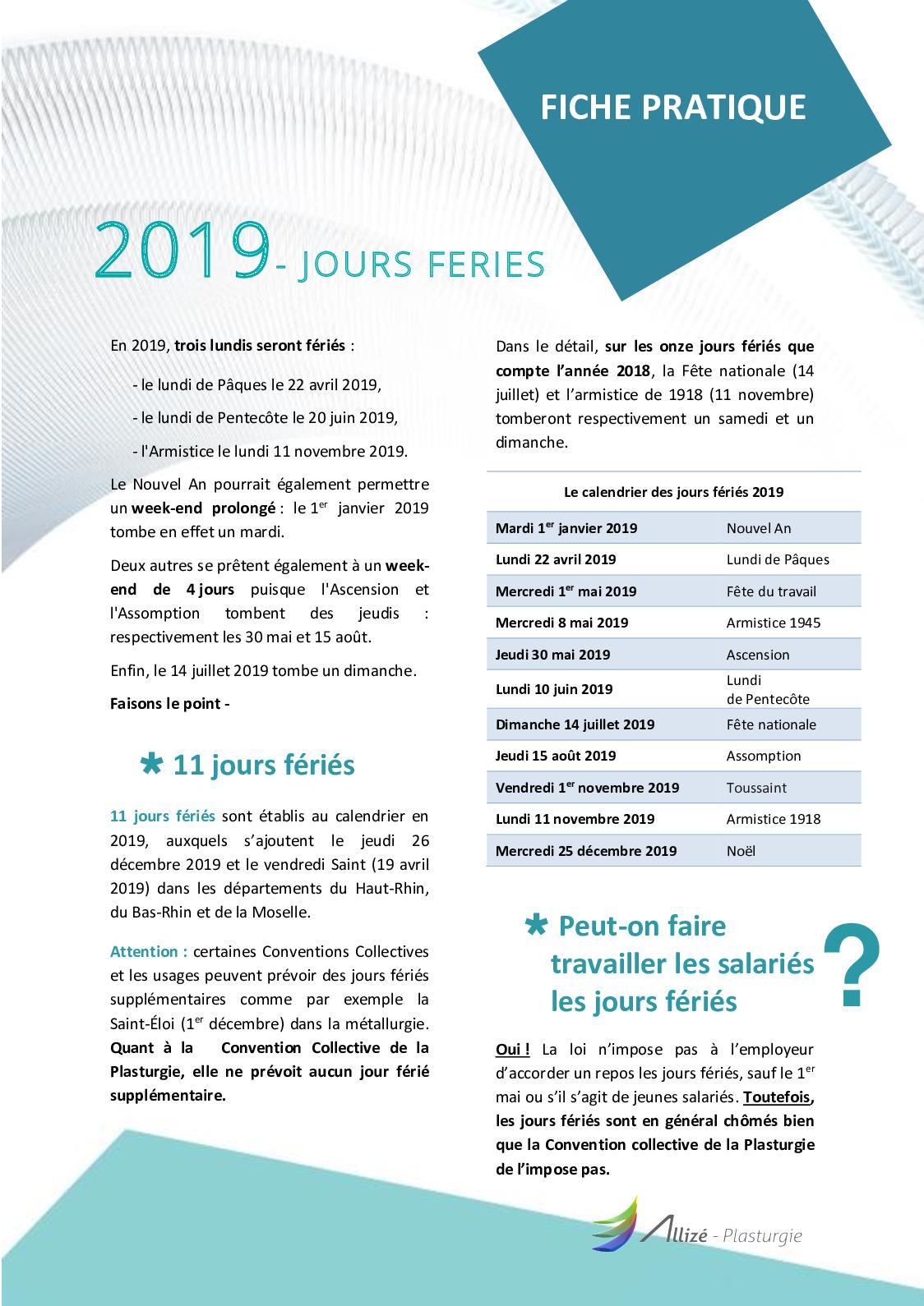 d5fc87fe6ee Calaméo - FICHE PRATIQUE - Jours Fériés 2019 0