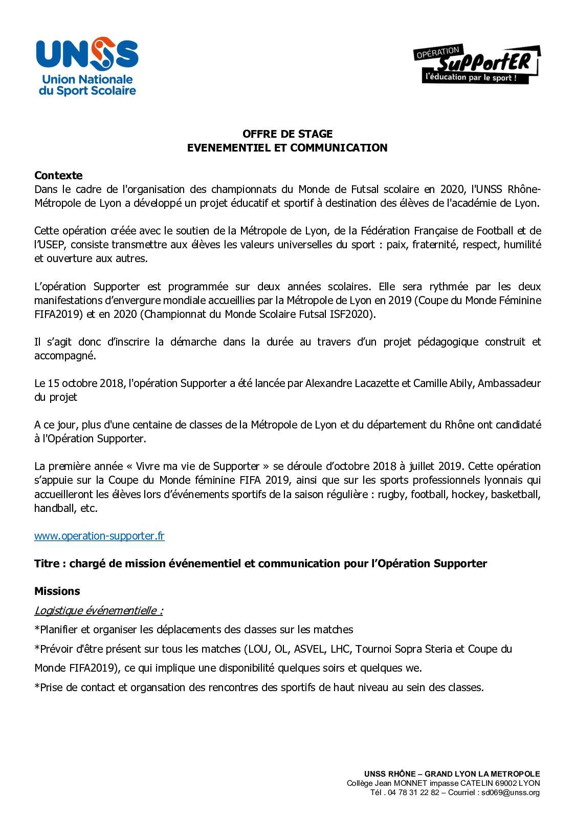 Calaméo Unss Offre De Stage Chargé De Mission Opé Supporter
