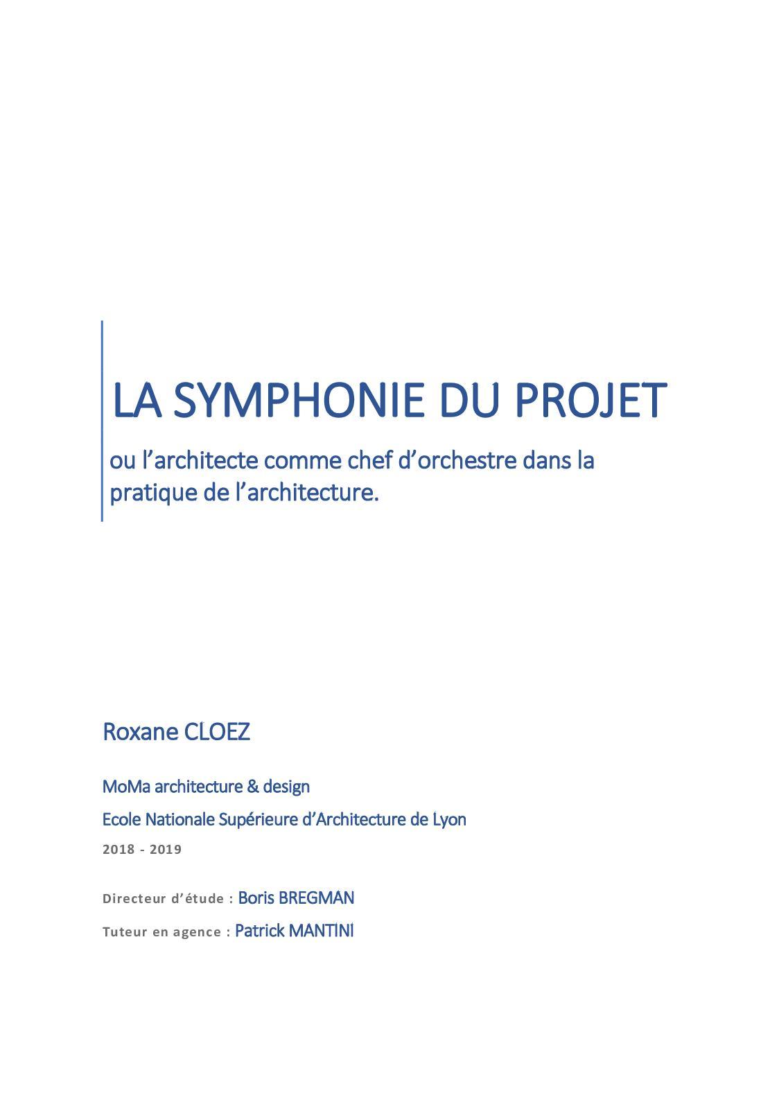 La Symphonie Du Projet Mémoire Hmonp Janvier 2019