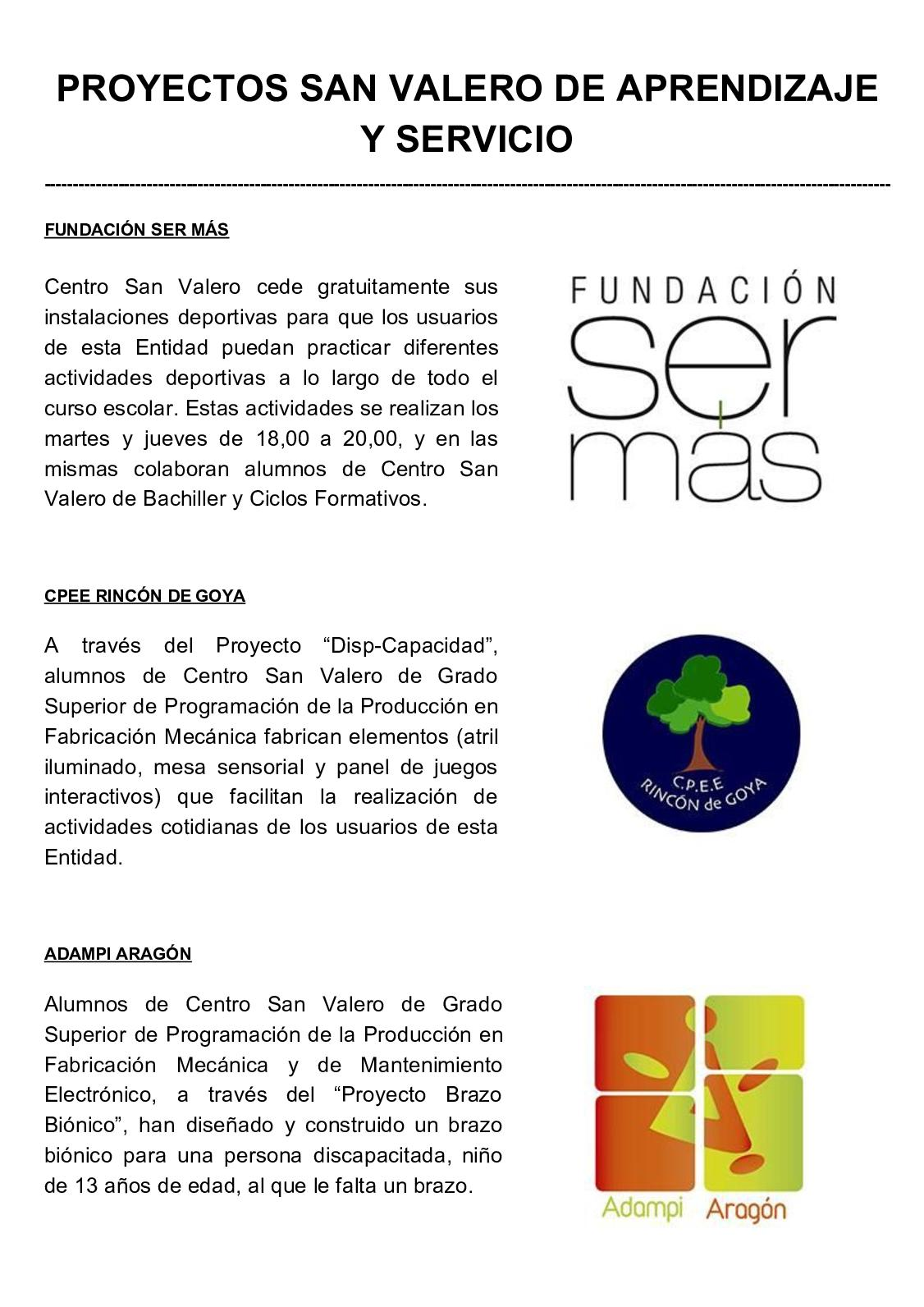 Calaméo Proyectos San Valero De Aprendizaje Y Servicio