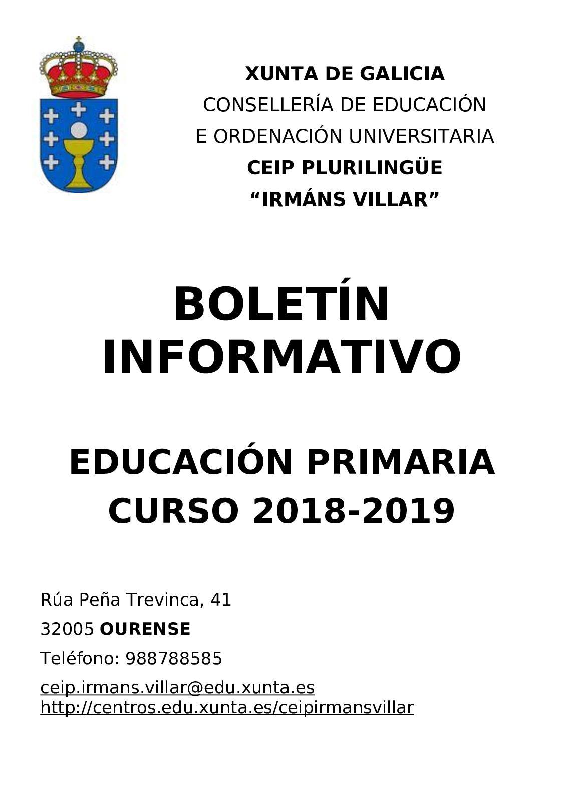 Calendario Escolar Xunta.Calameo Boletin Informativo Primaria 18 19
