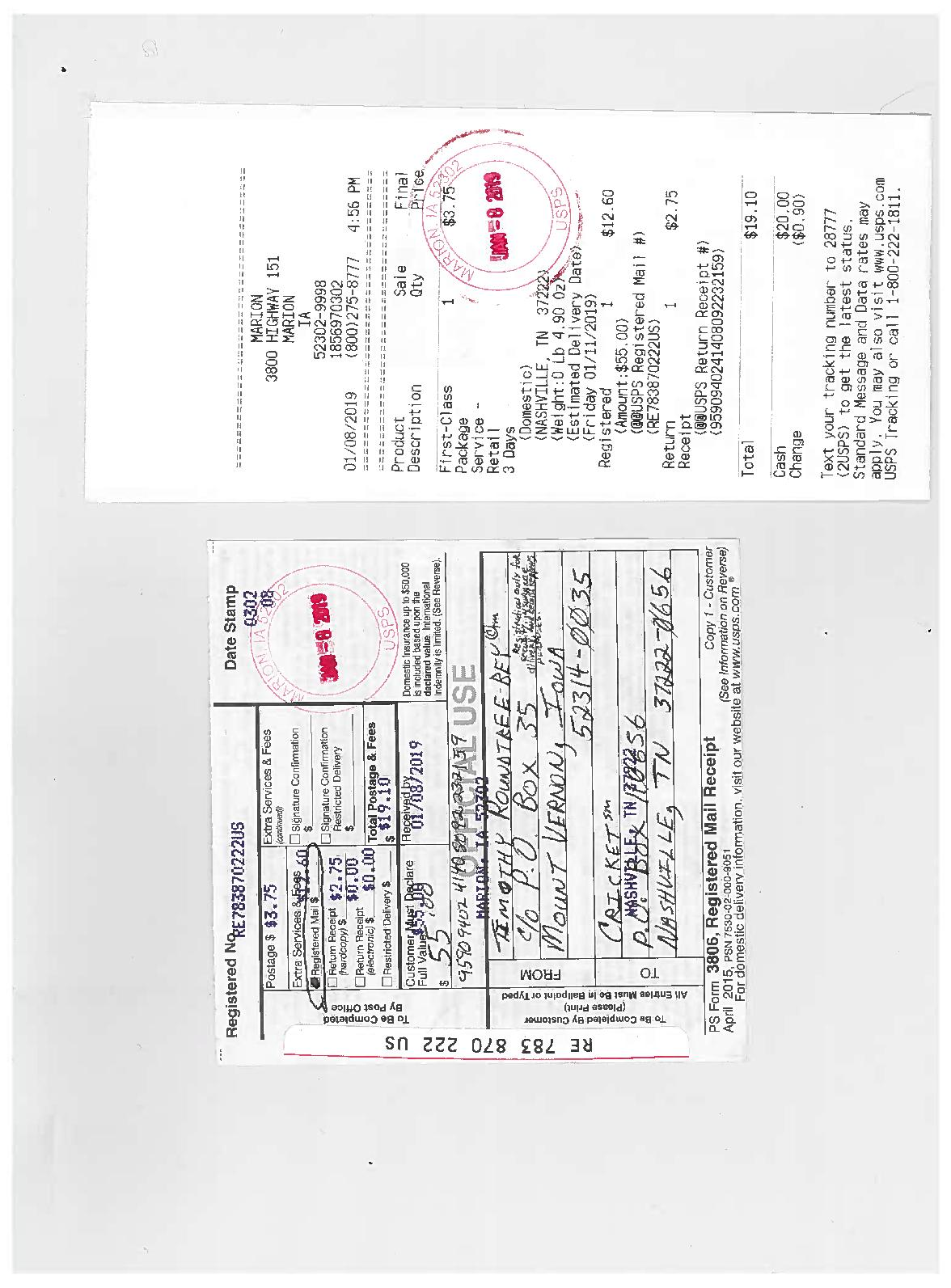 Calameo Registered Mail Re 783 870 222 Us Sent To