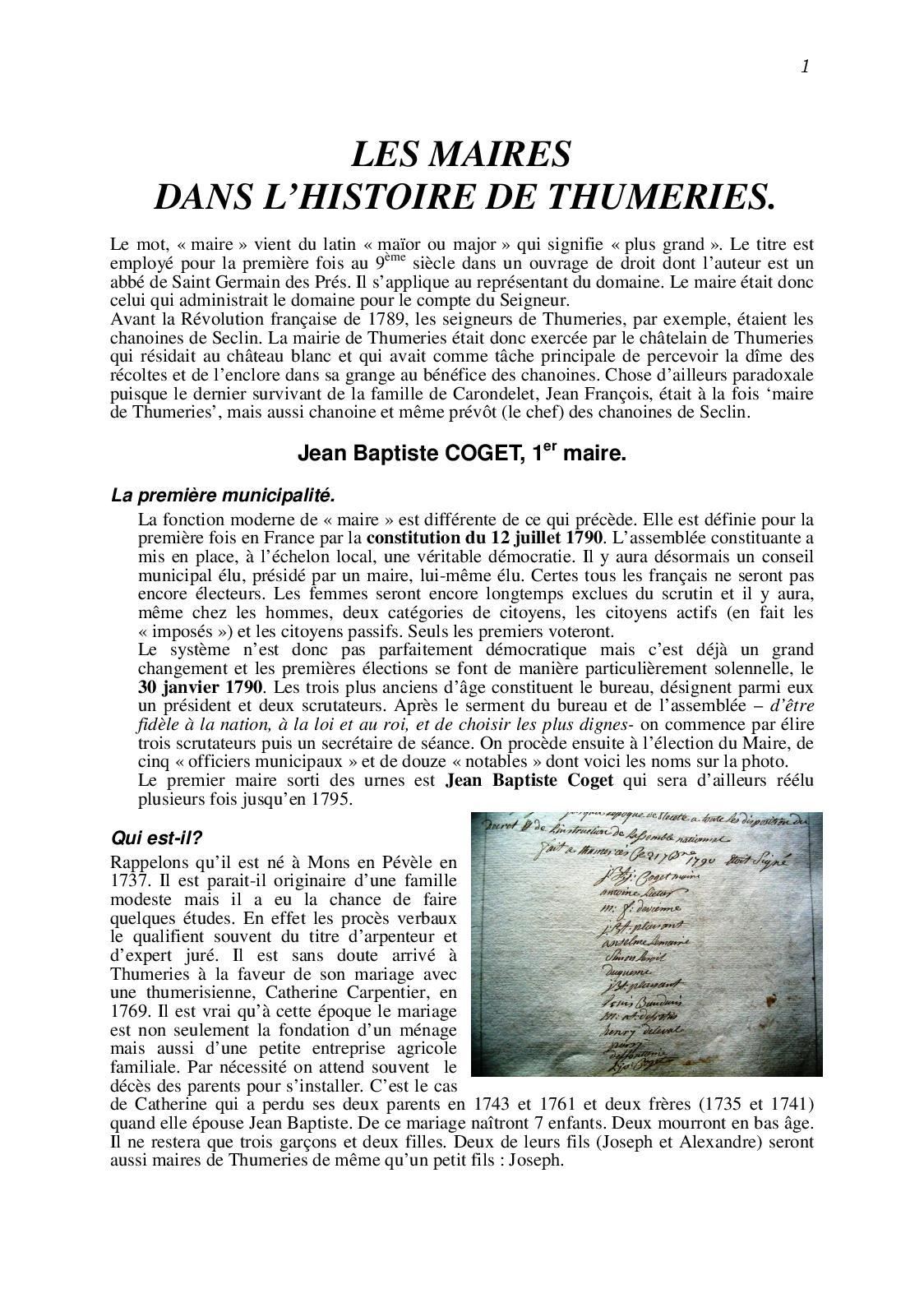 Calaméo Histoire Des Maires De Thumeries
