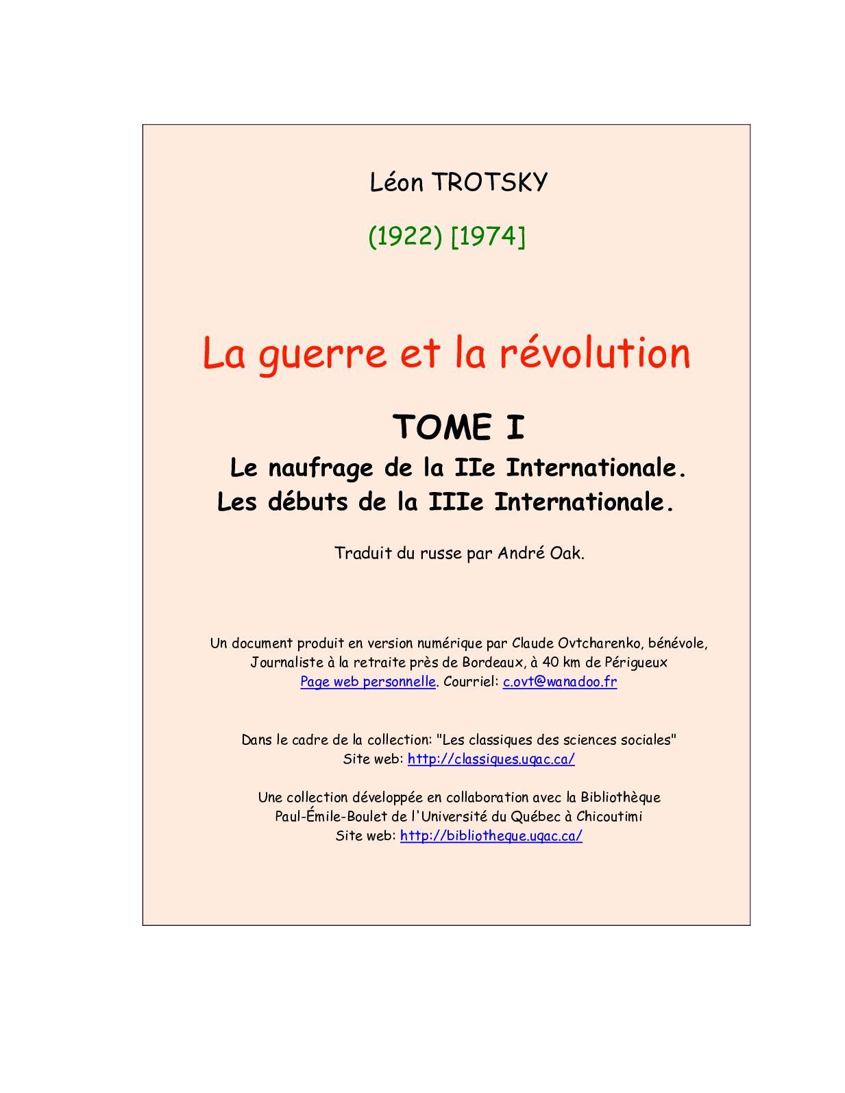 la Léon Trotskyla Calaméo Révolutiontome I Guerre et 0wN8knXOP