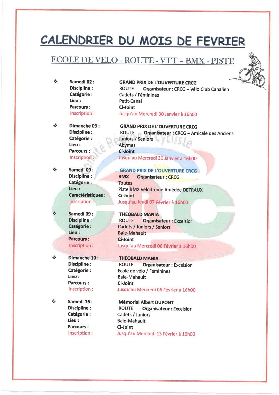 Calendrier Bmx 2019.Calameo Calendrier Fevrier 2019 Crcg