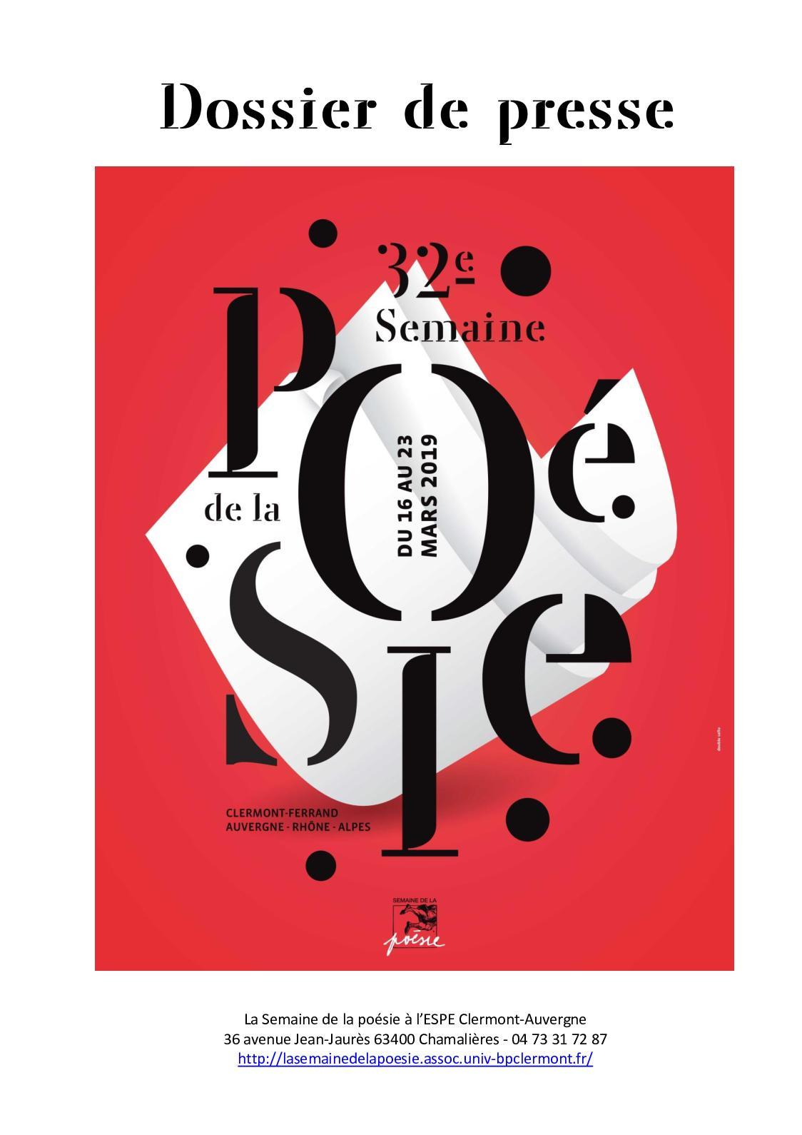 Calaméo Dossier Presse 32e Semaine De La Poésie