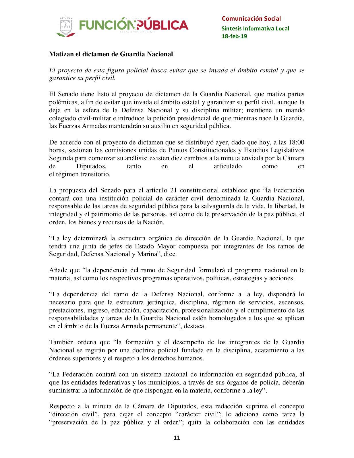 Síntesis Local Nacional De Comunicación Social De La Sfp 18