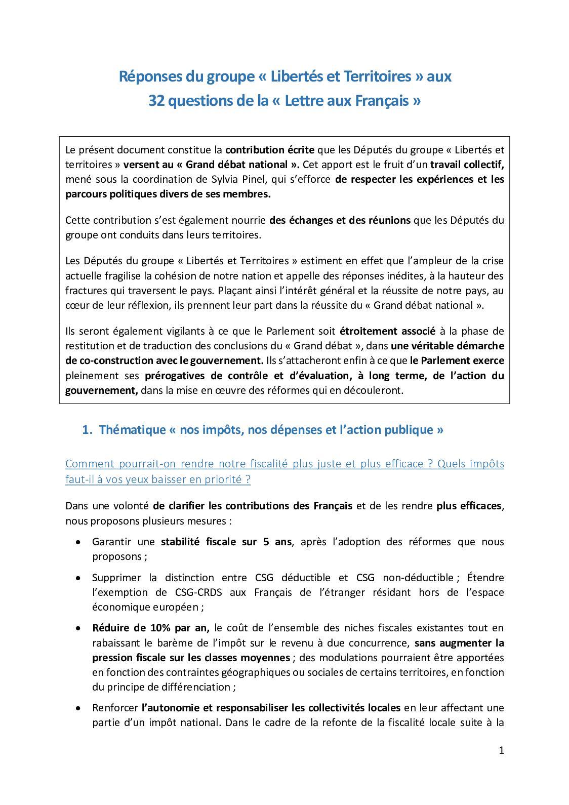 Calameo Reponses Du Groupe L T Au Grand Debat National