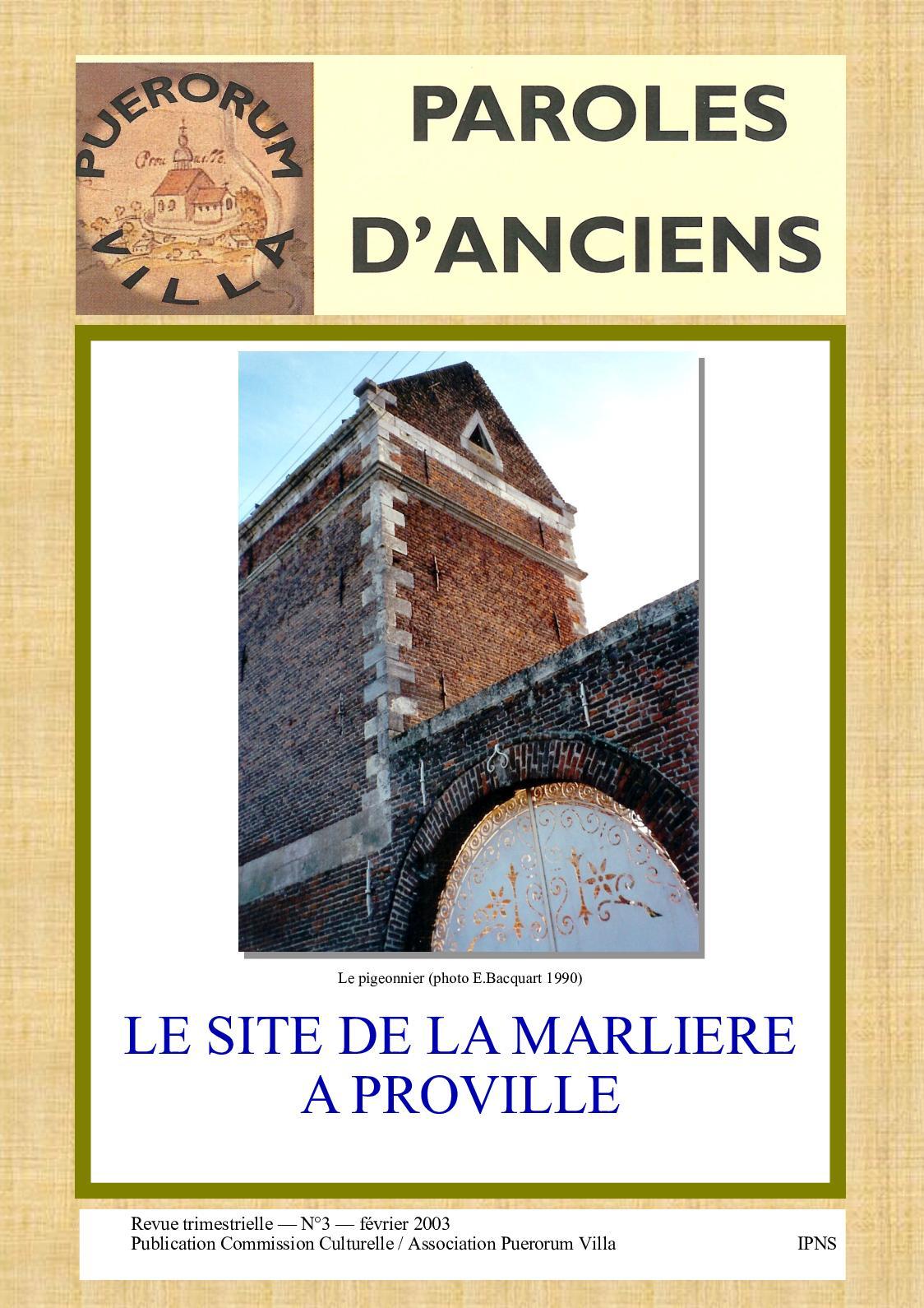 Pro Gouttiere Sainte Cecile calaméo - paroles d'anciens n°3. le site de la marlière à