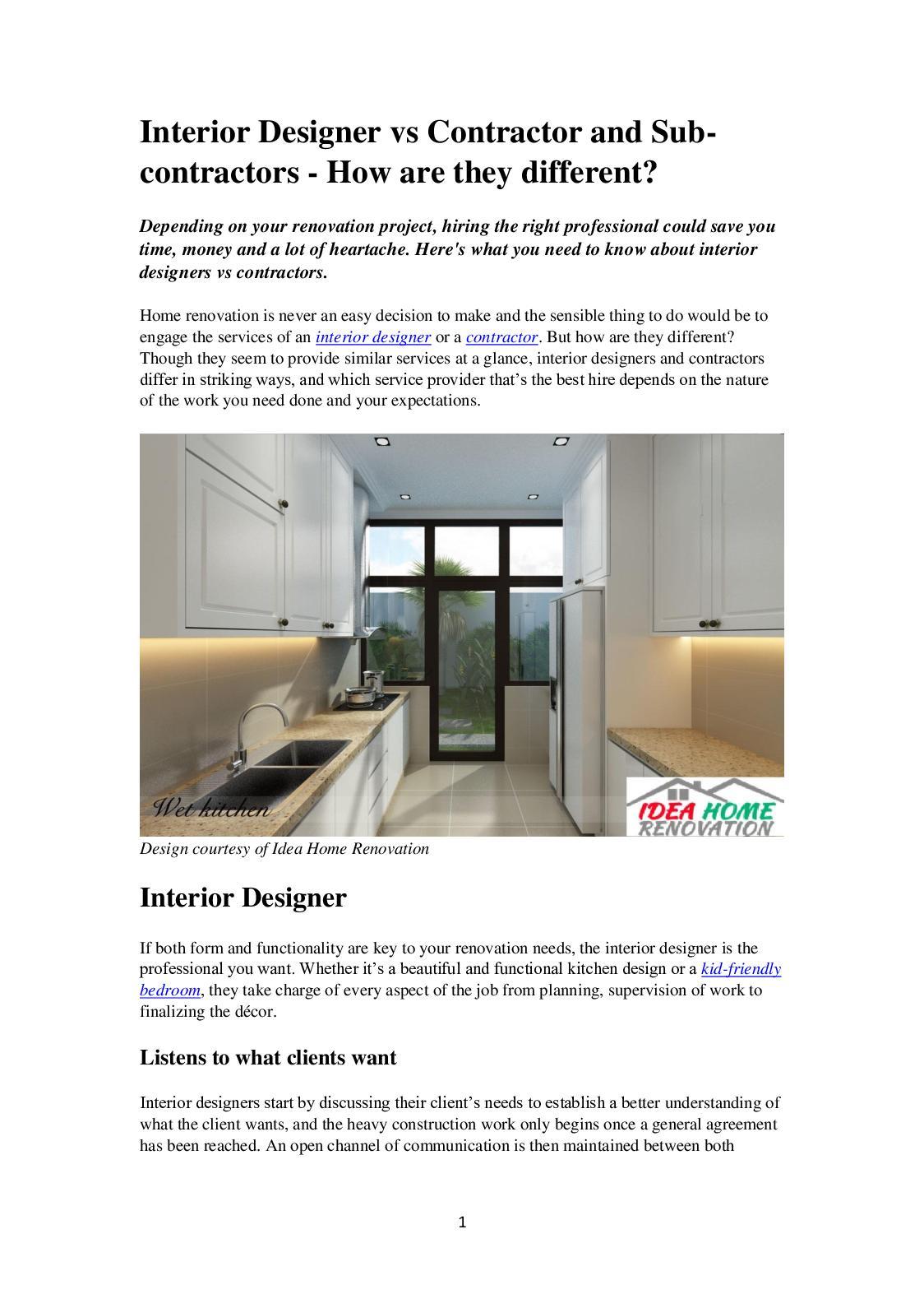 Calameo Interior Designer Vs Contractors 26 02 209