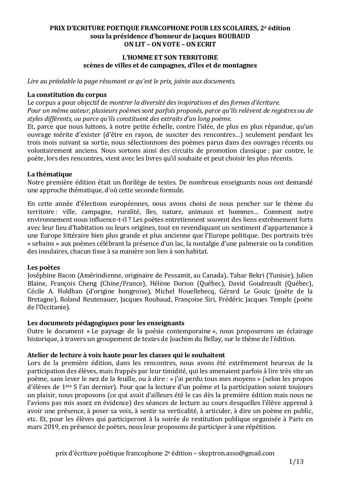 Calaméo Corpus Prix écriture Poétique Francophone 2019