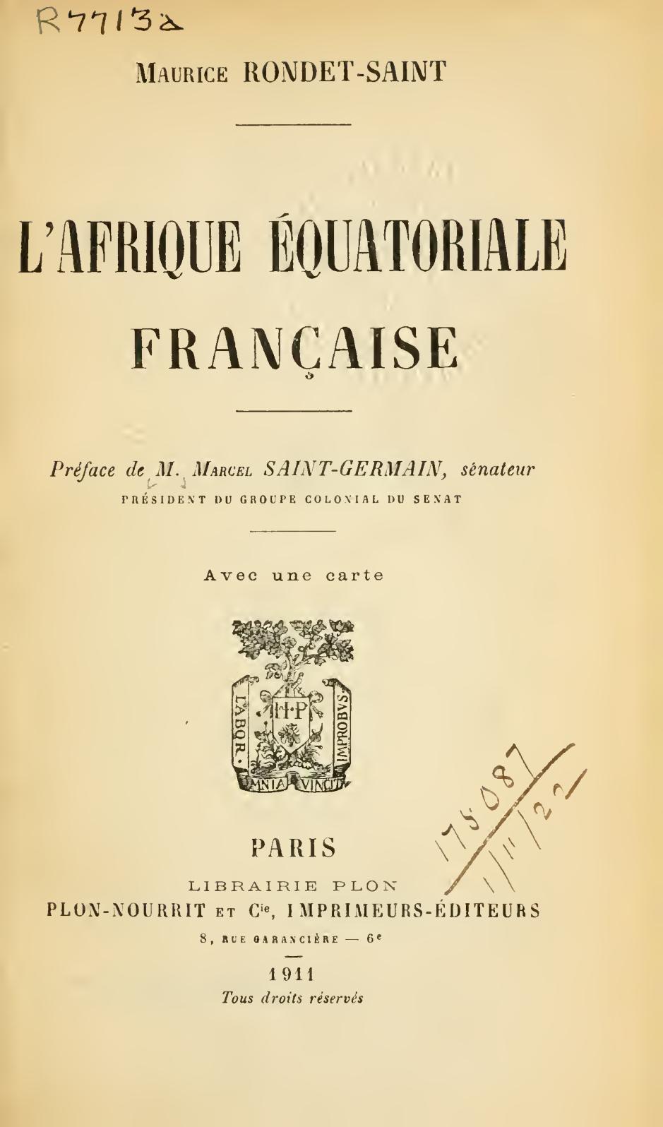 Calaméo L Afrique équatoriale Française Par Maurice