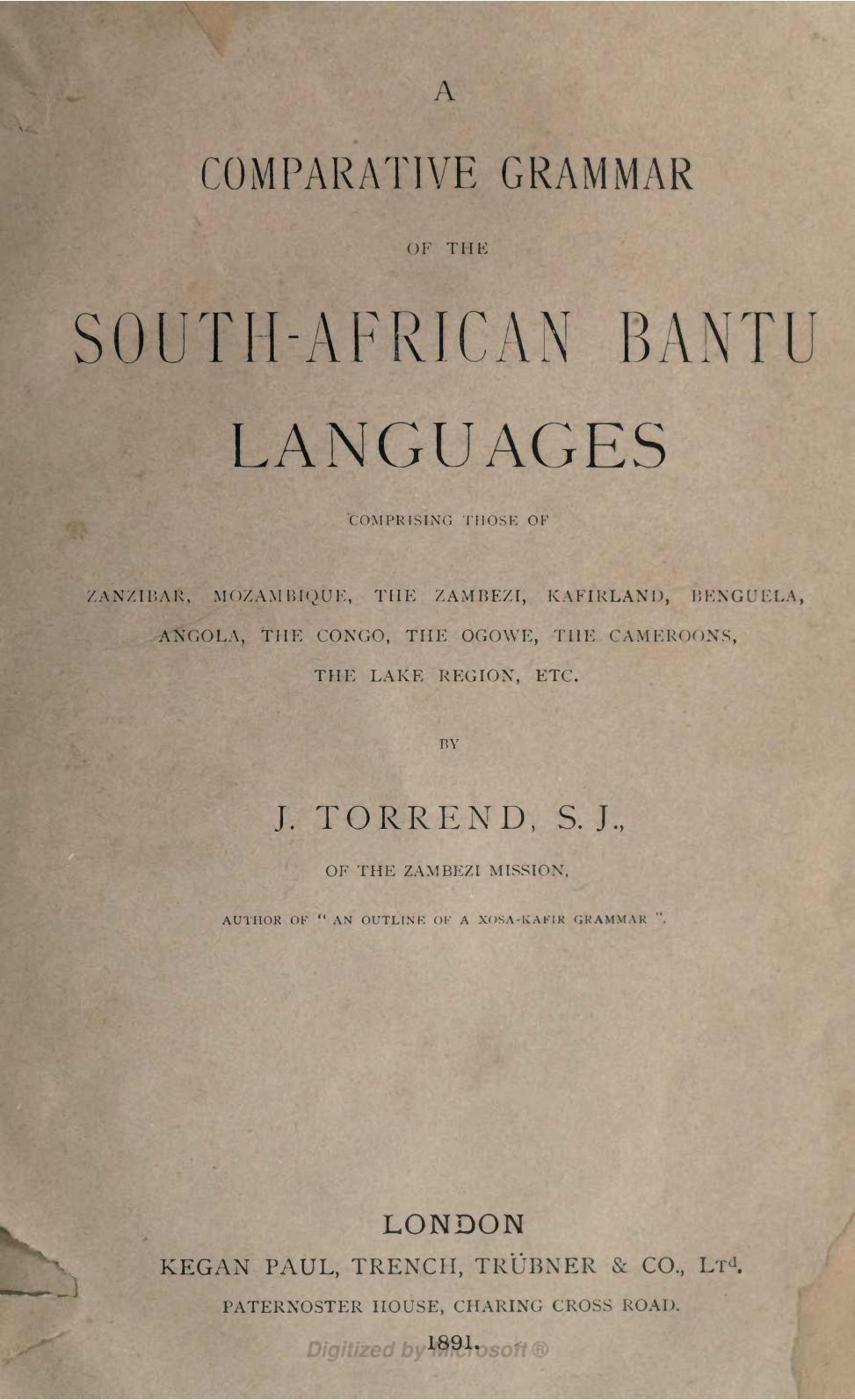Calaméo - A comparative grammar of the South African Bantu