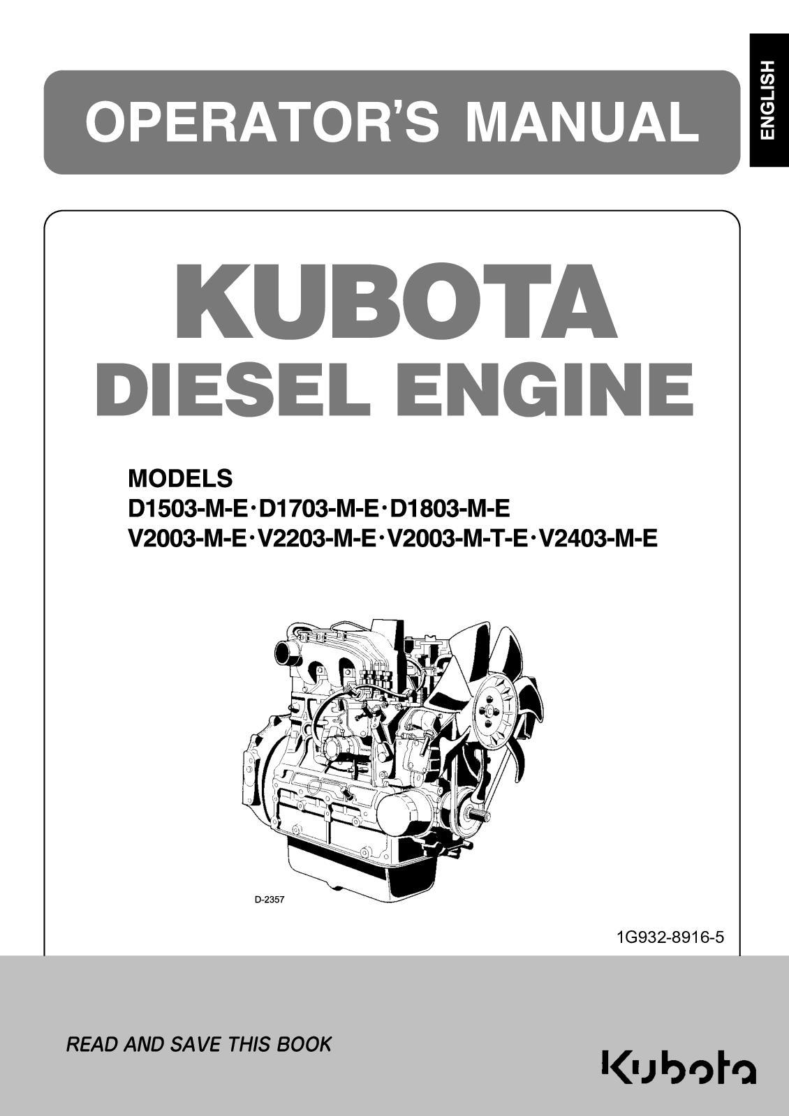 Calaméo - Kubota Engines D1503 Me D1803 Me V2203 M V2403 Me Ops