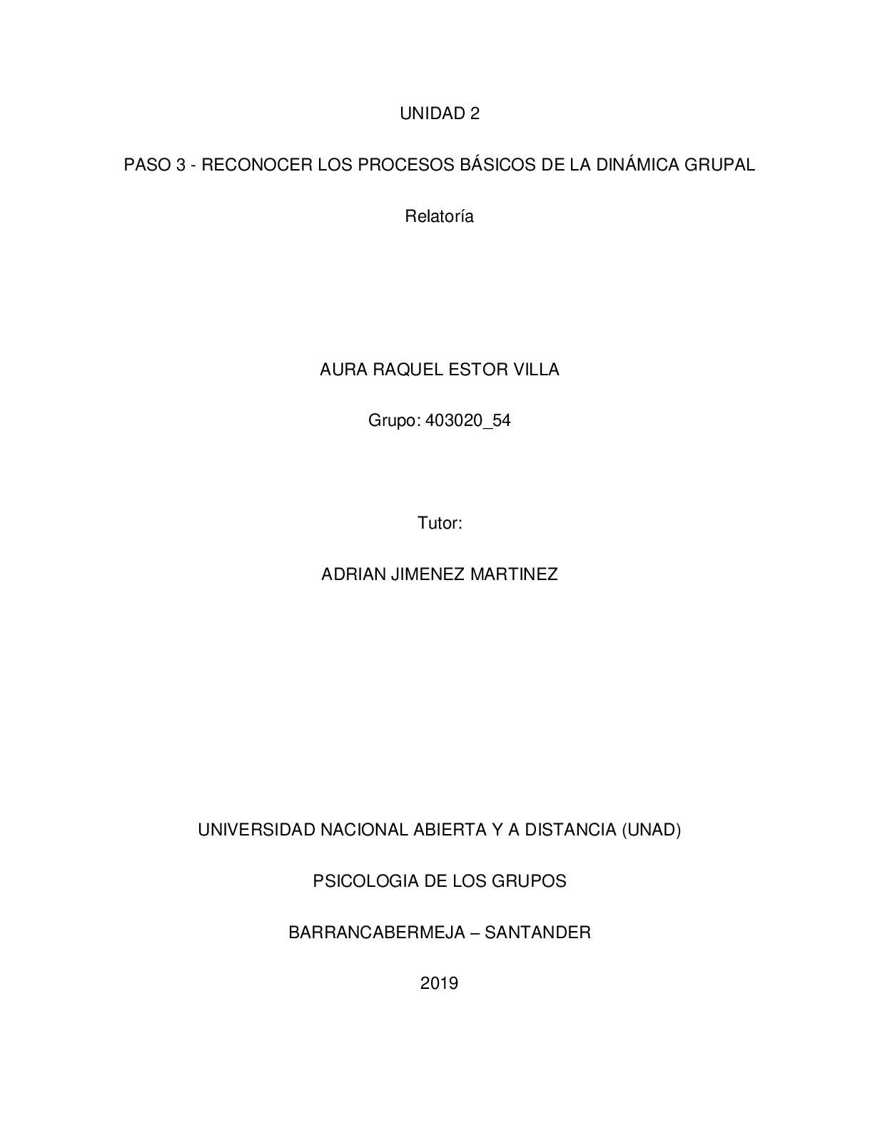 Relatoria Procesos De Grupo Aura Estor
