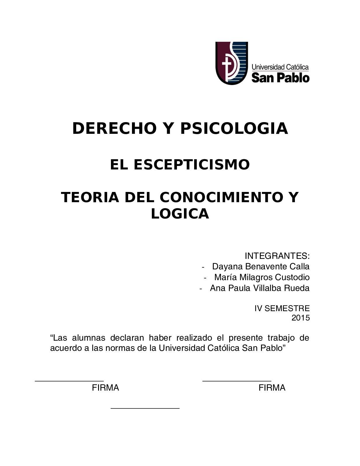 Calaméo Derecho Y Psicologia El Escepticismo Teo