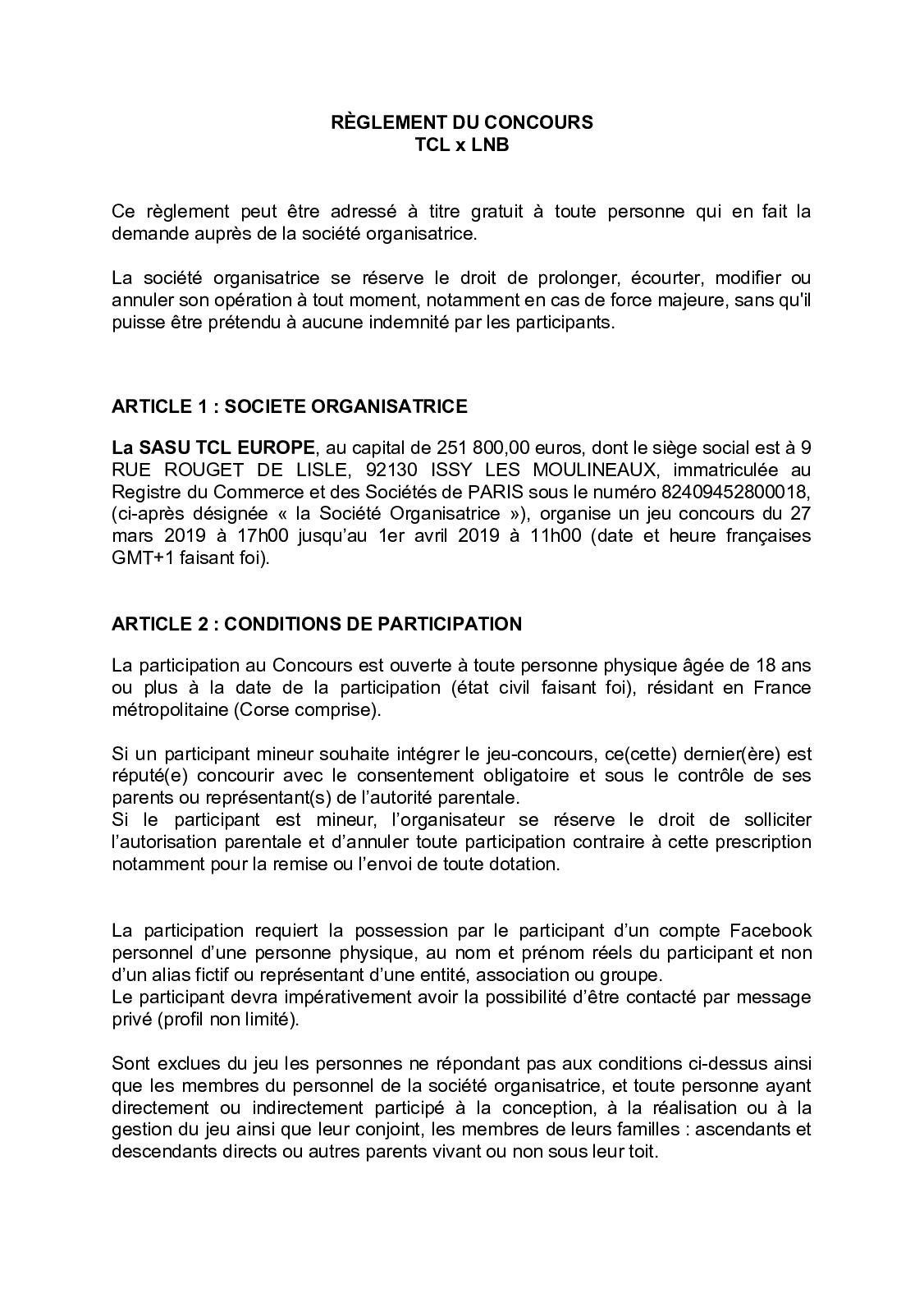 Calaméo Terms & Conditions Jeu Concours Facebook Tclx Lnb