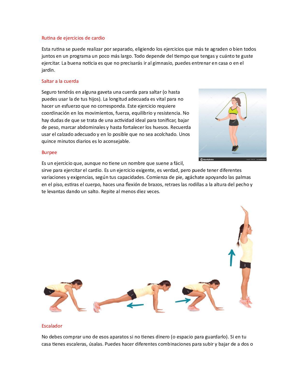 rutina de ejercicios en casa con cardio