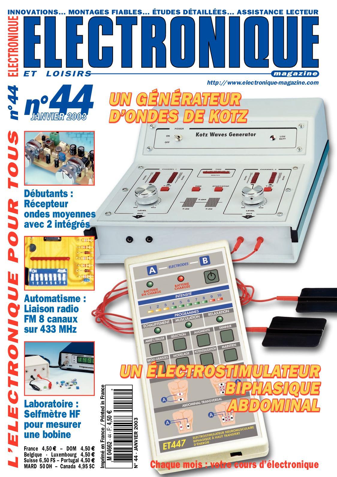 Dispositif de test de frequence pour emetteur-recepteur radio bidirectionnel XK