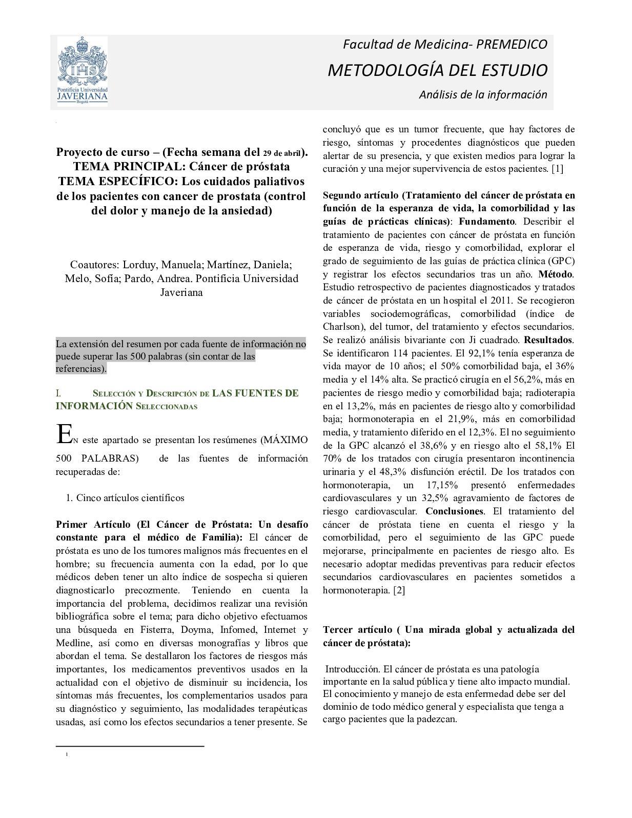 descripcion general del cancer de prostata