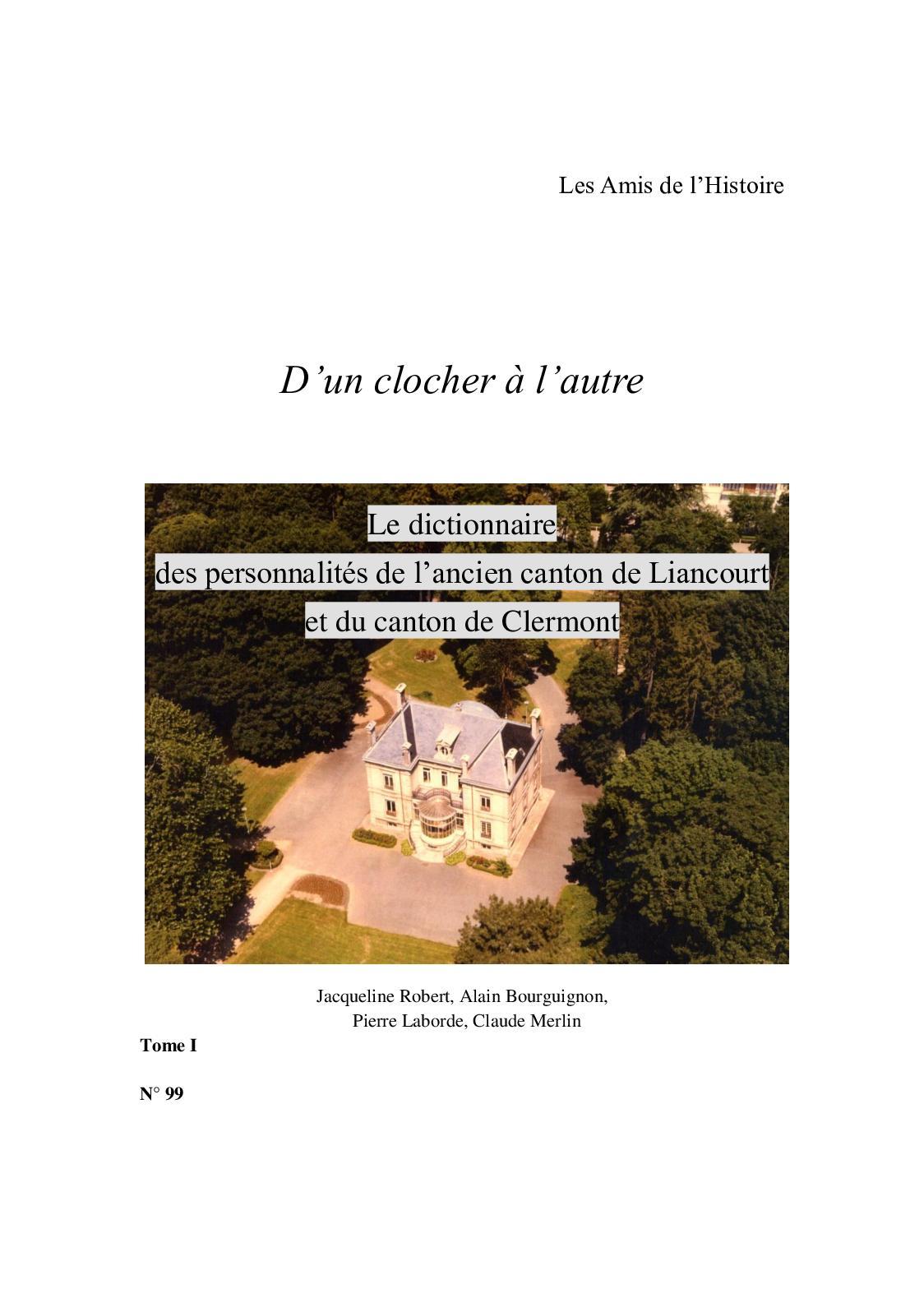 Dictionnaire Des Personnalités Du Canton Tome 1