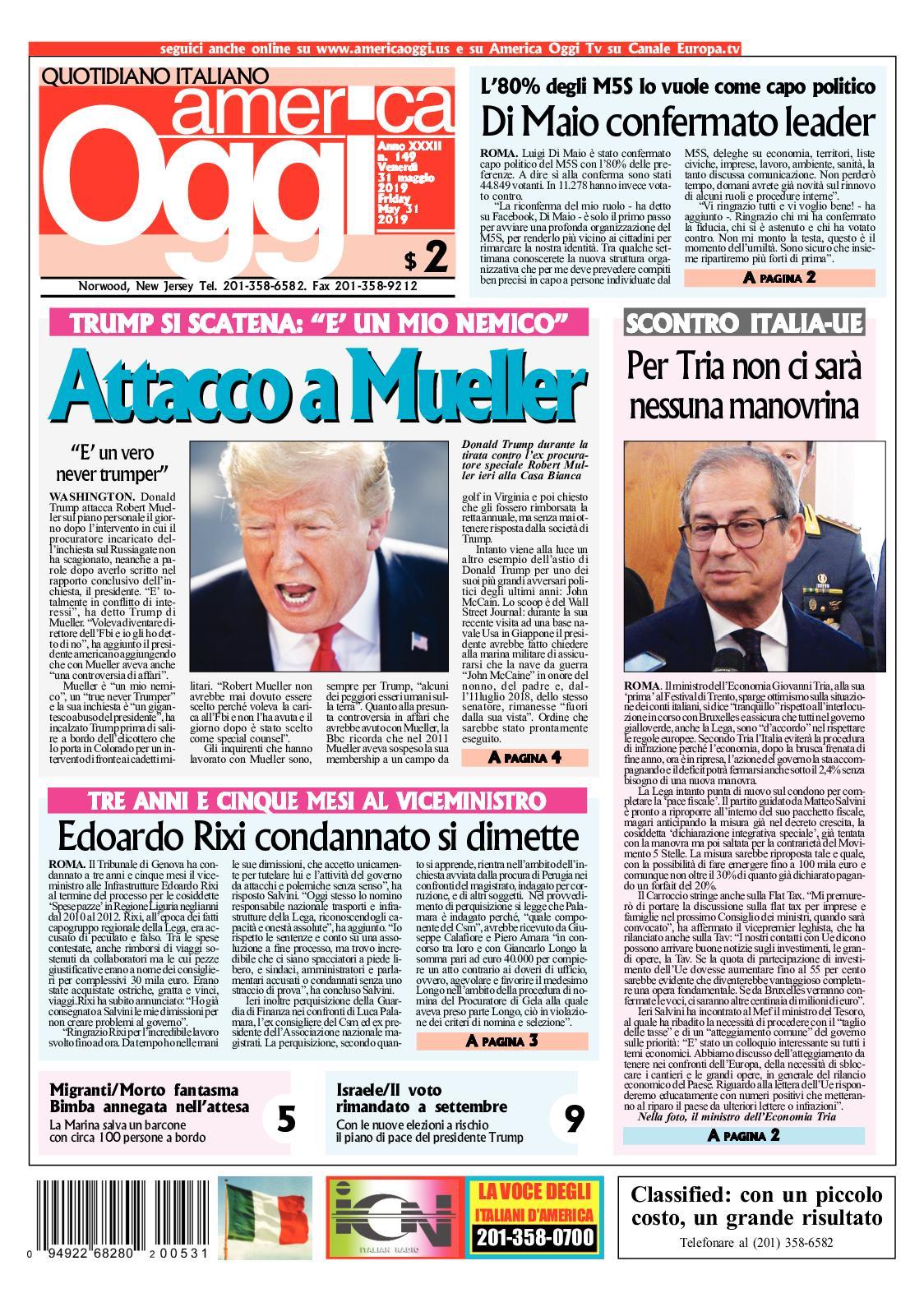 Calameo America Oggi 31 Maggio 2019