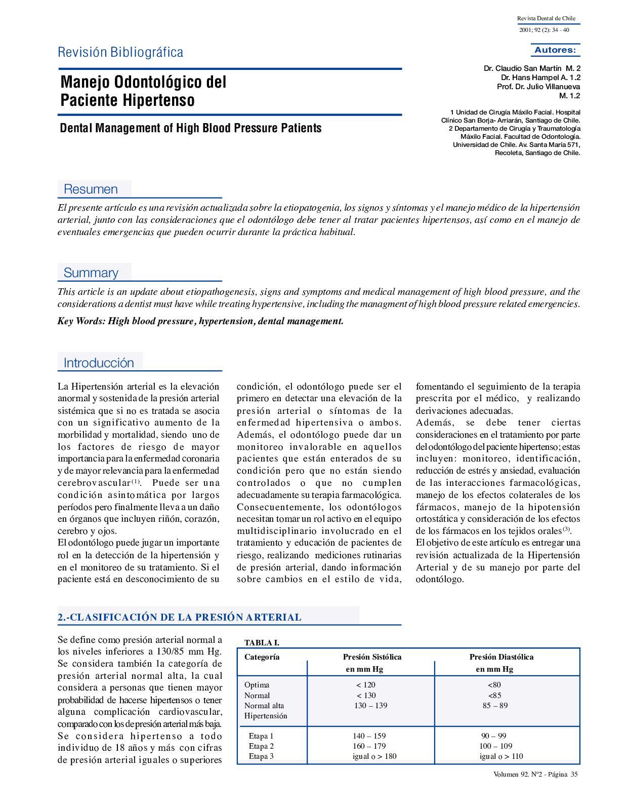 Hipertensión esencial benigna etapa 1