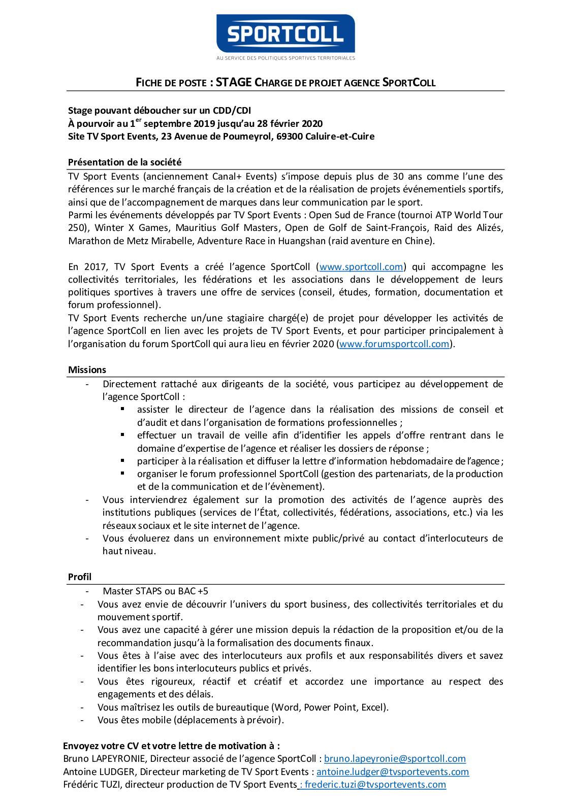 Calaméo Césure Chef Projet Agence Sportcoll