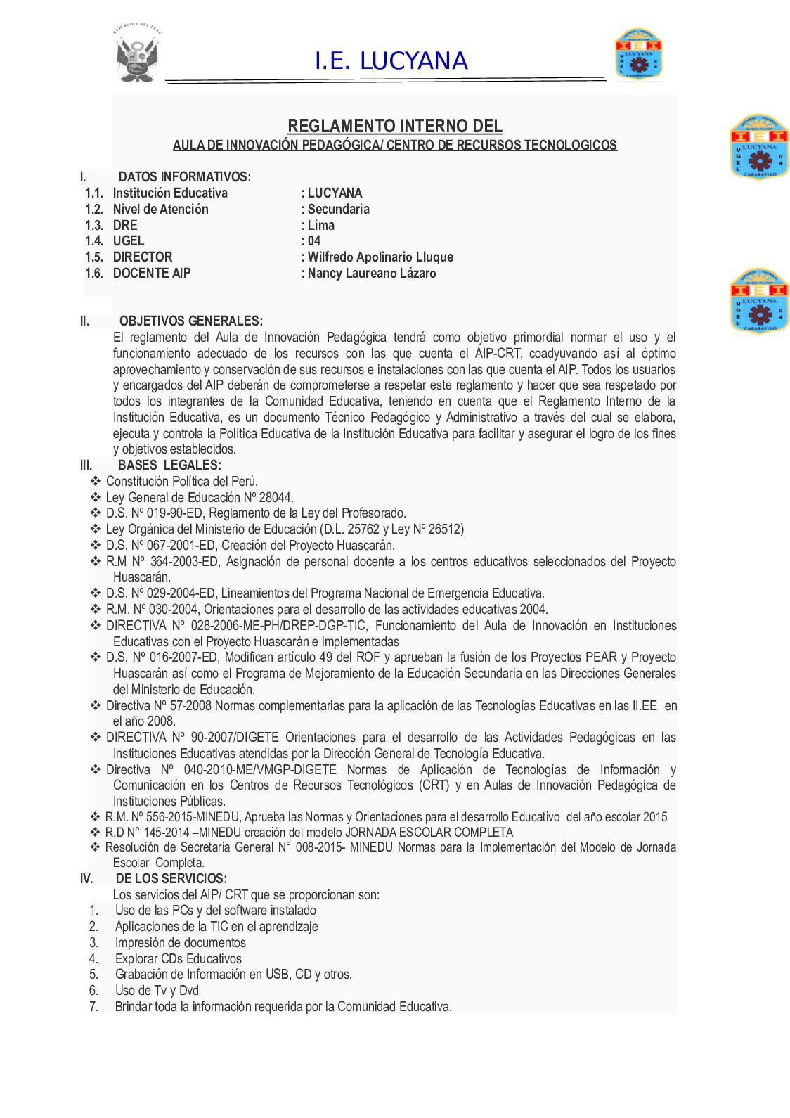 Reglamento Interno Aip 2019