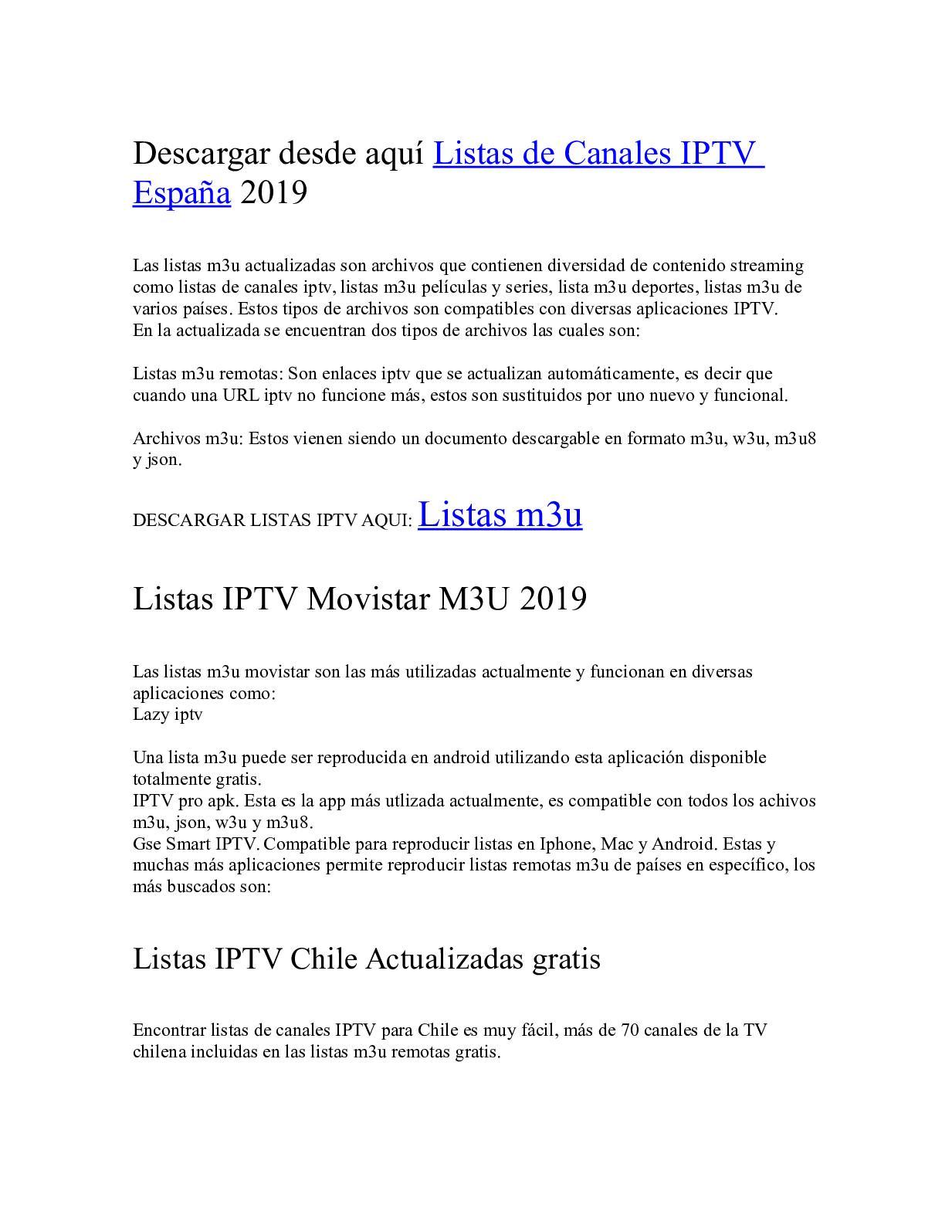 Calaméo Listas De Canales Iptv España M3u Gratis Actualizadas 2019