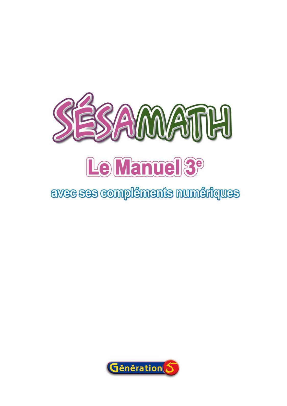 SESAMATH 3EME TÉLÉCHARGER