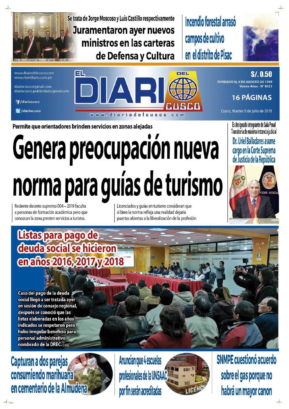 Diario del Cusco  9 de Julio de 2019