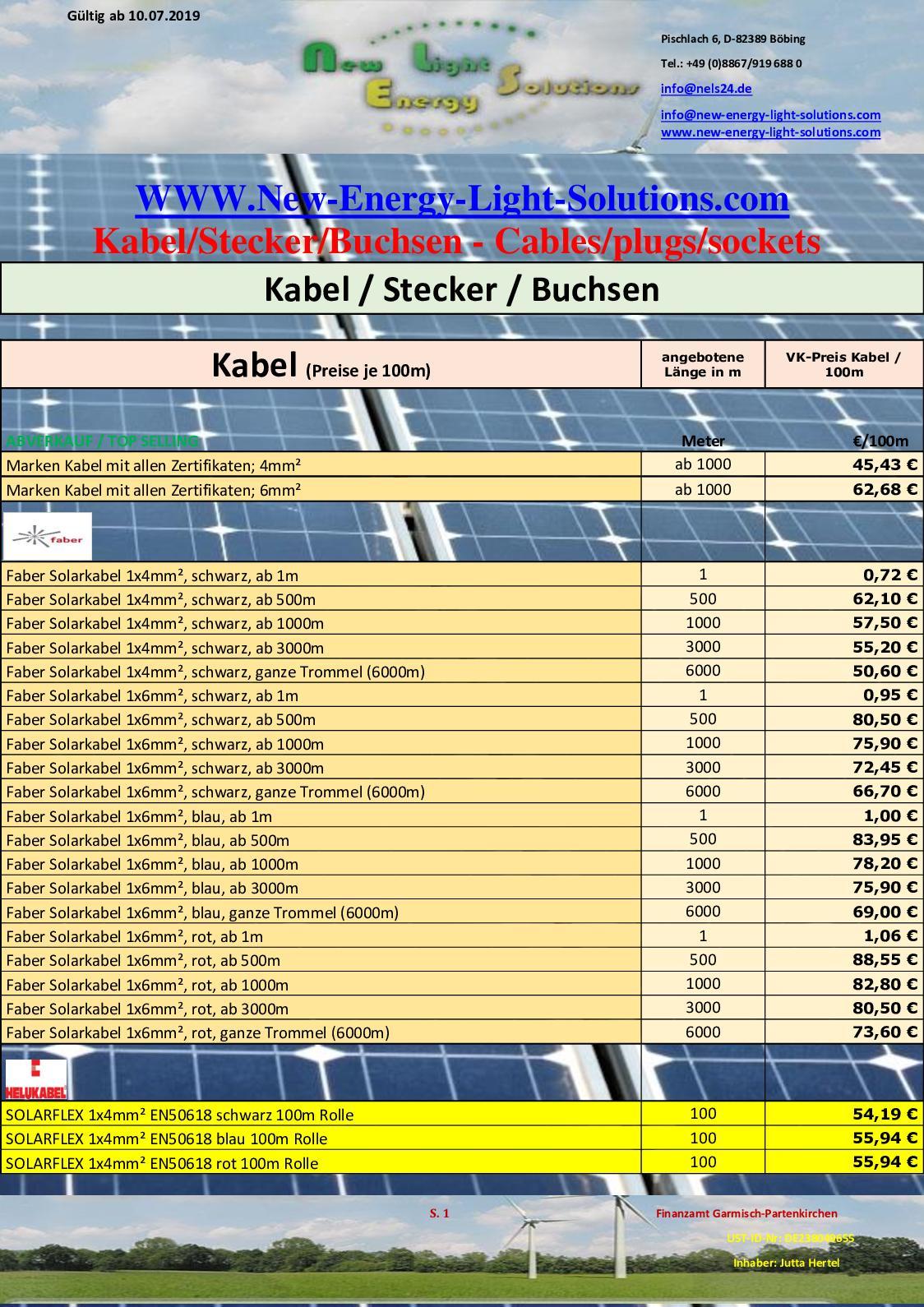 Photovoltaikanlage 1 Paar MC4 Solar Panel DC-Kabelstecker Male Female für PV