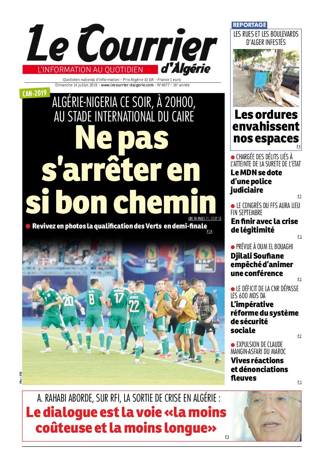Le Courrier d'Algérie du dimanche 14 juillet 2019